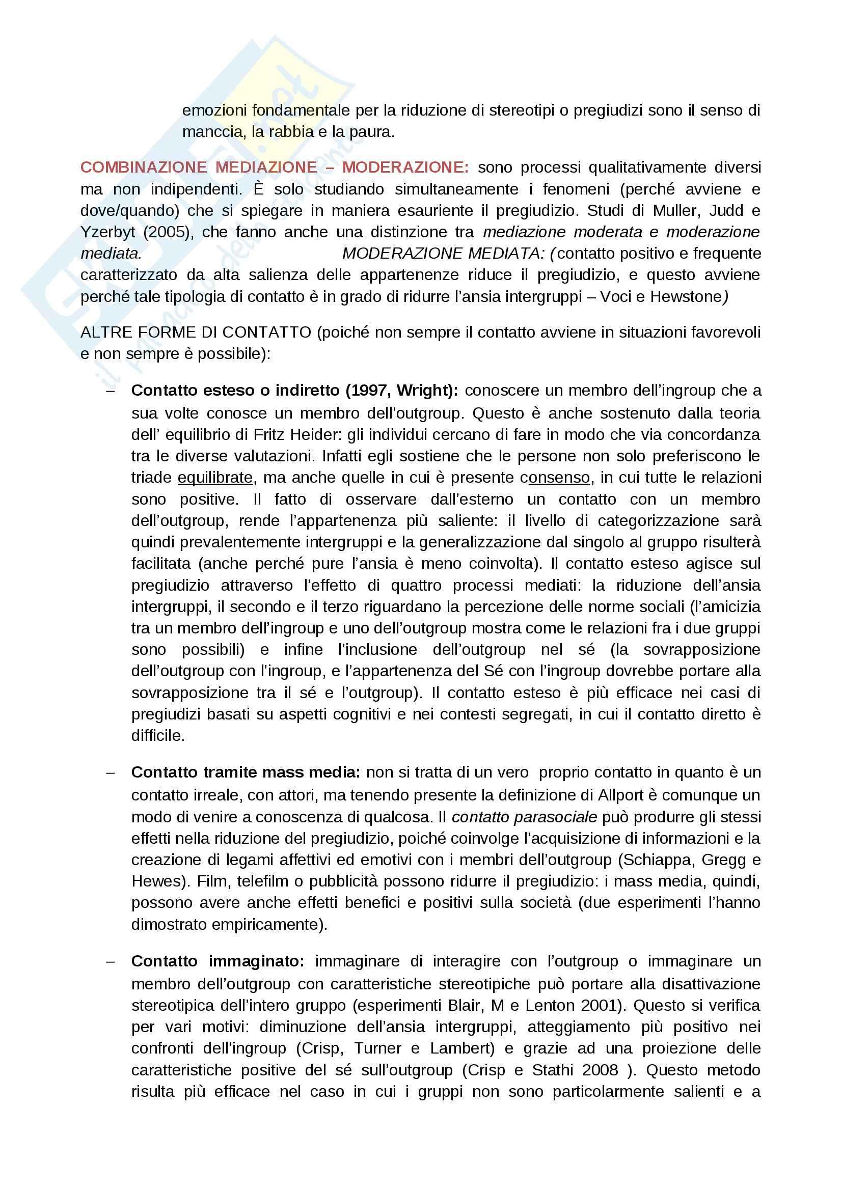 Riassunto esame Psicologia sociale, prof. Zatti, libro consigliato Il pregiudizio: cos'è, come si riduce, Voci, Pagotto Pag. 11