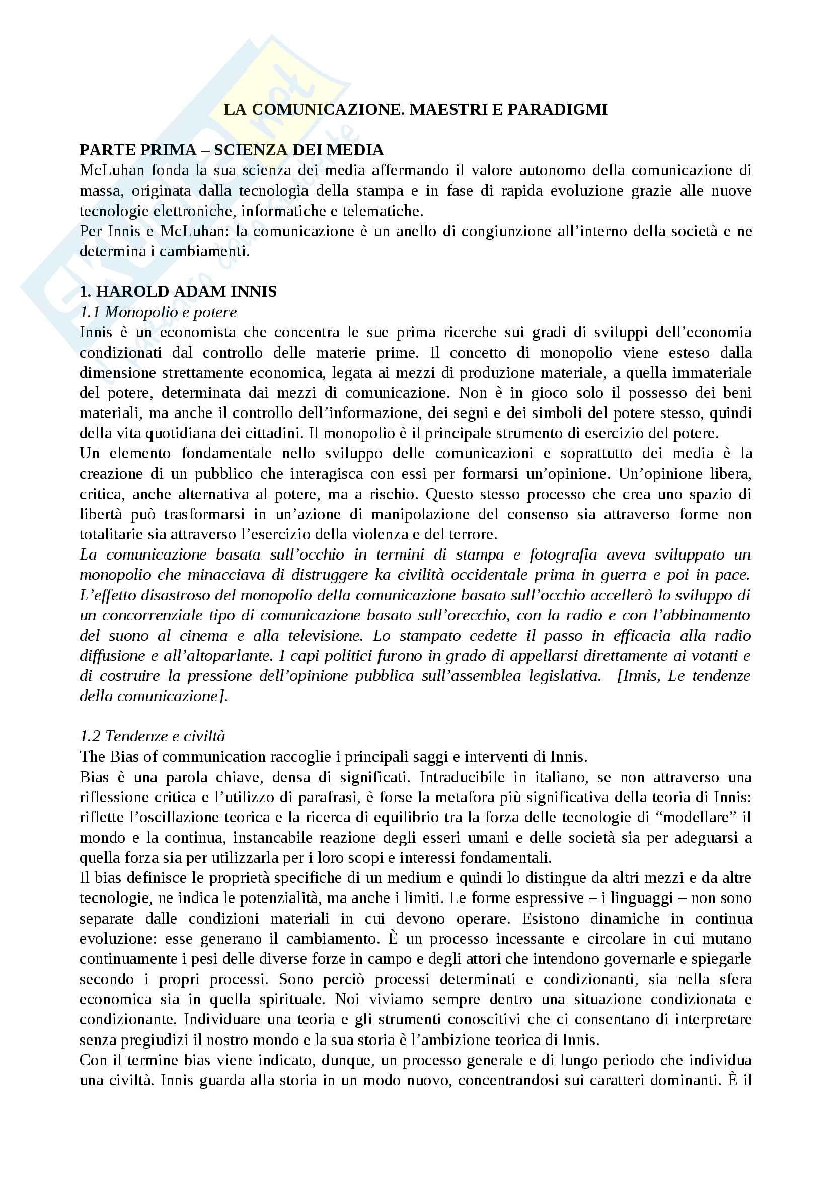 Riassunto esame teorie e tecniche dei media digitali, Prof Lughi, libro consigliato La comunicazione. Maestri e paradigmi, Ricciardi