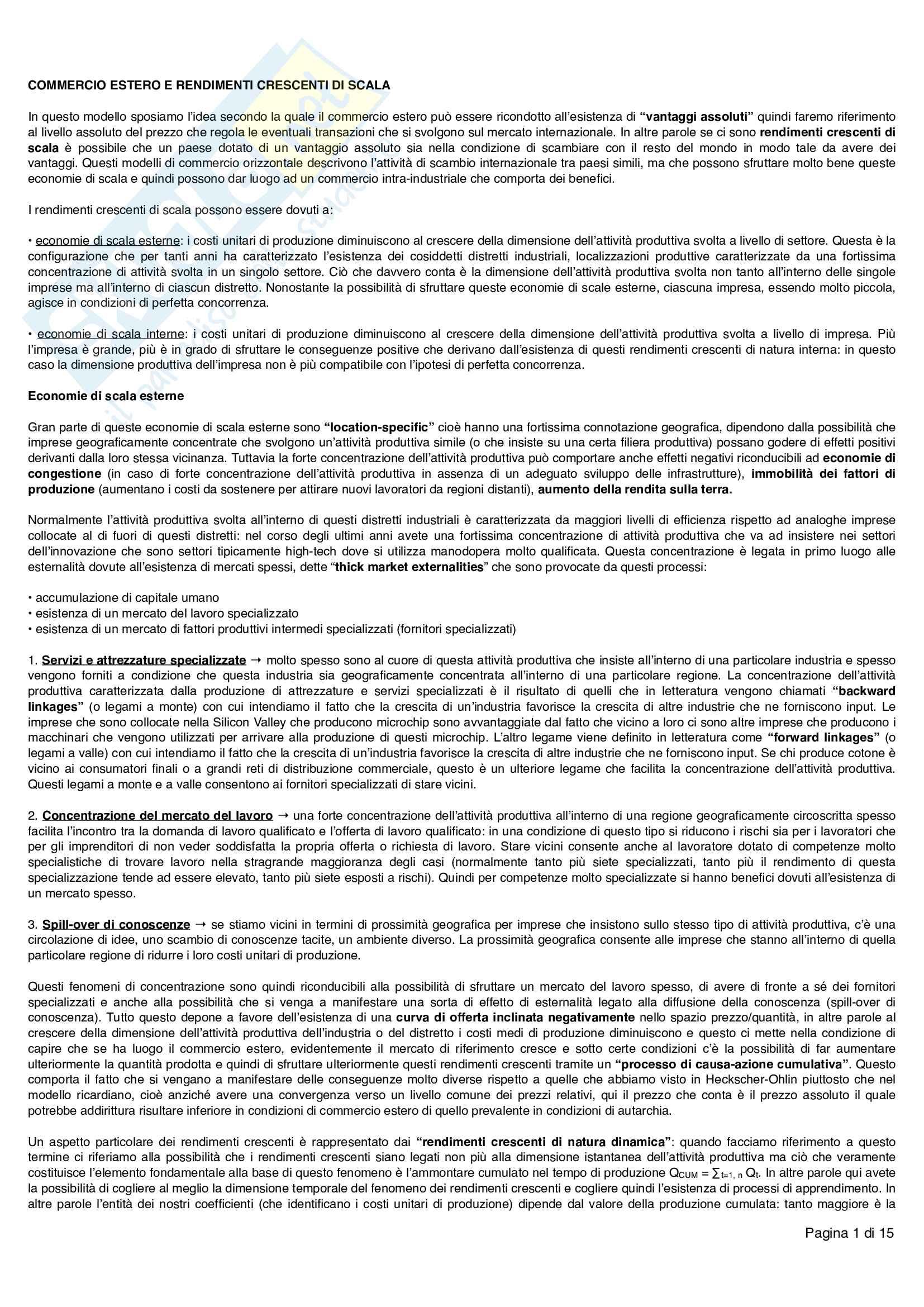Economia internazionale primo parziale, prof. Marco Angelo Lossani