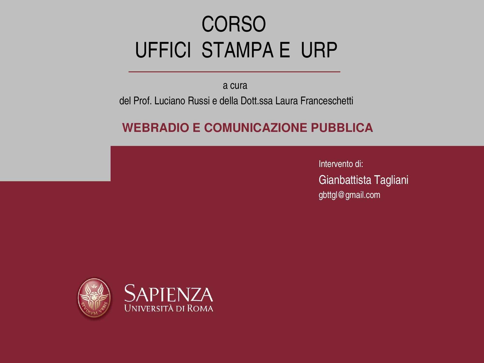 Comunicazione pubblica - Web radio