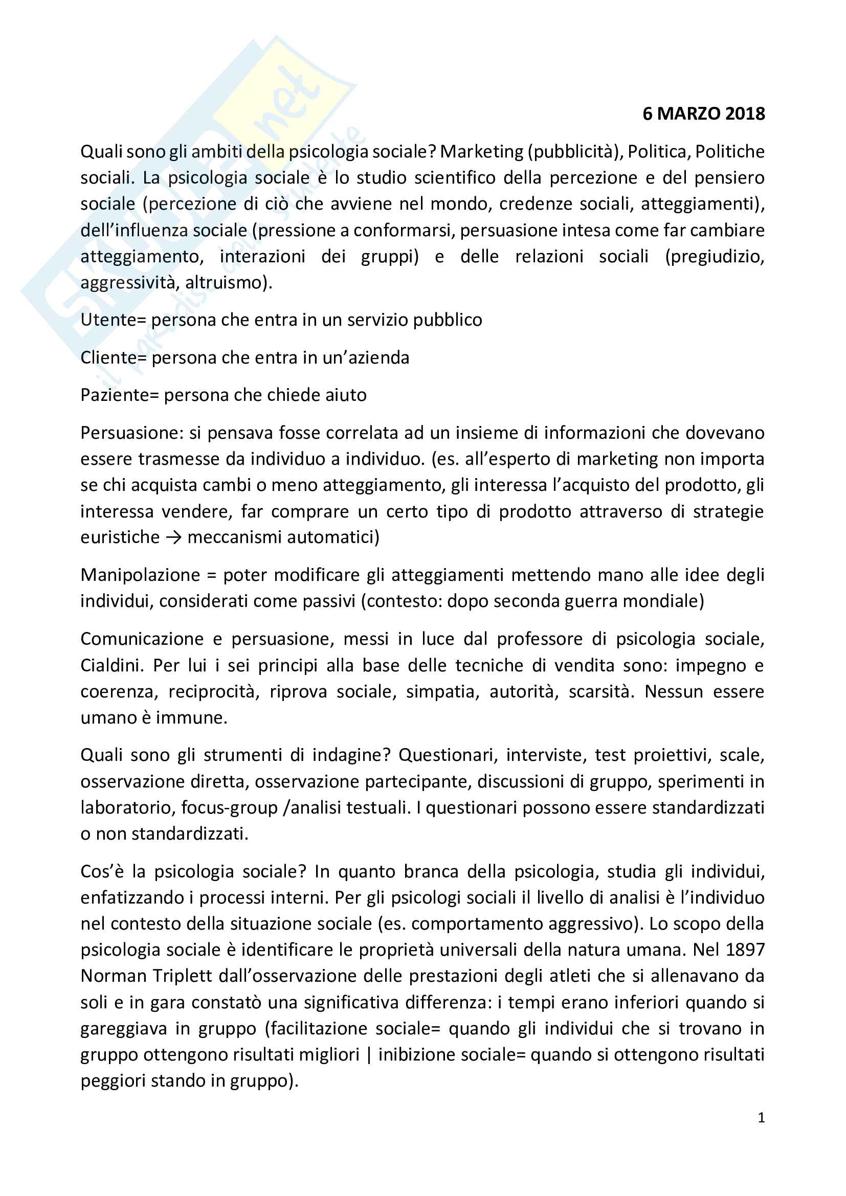 """Appunti lezioni corso """"Psicologia sociale"""" prof Alessandro Toni"""