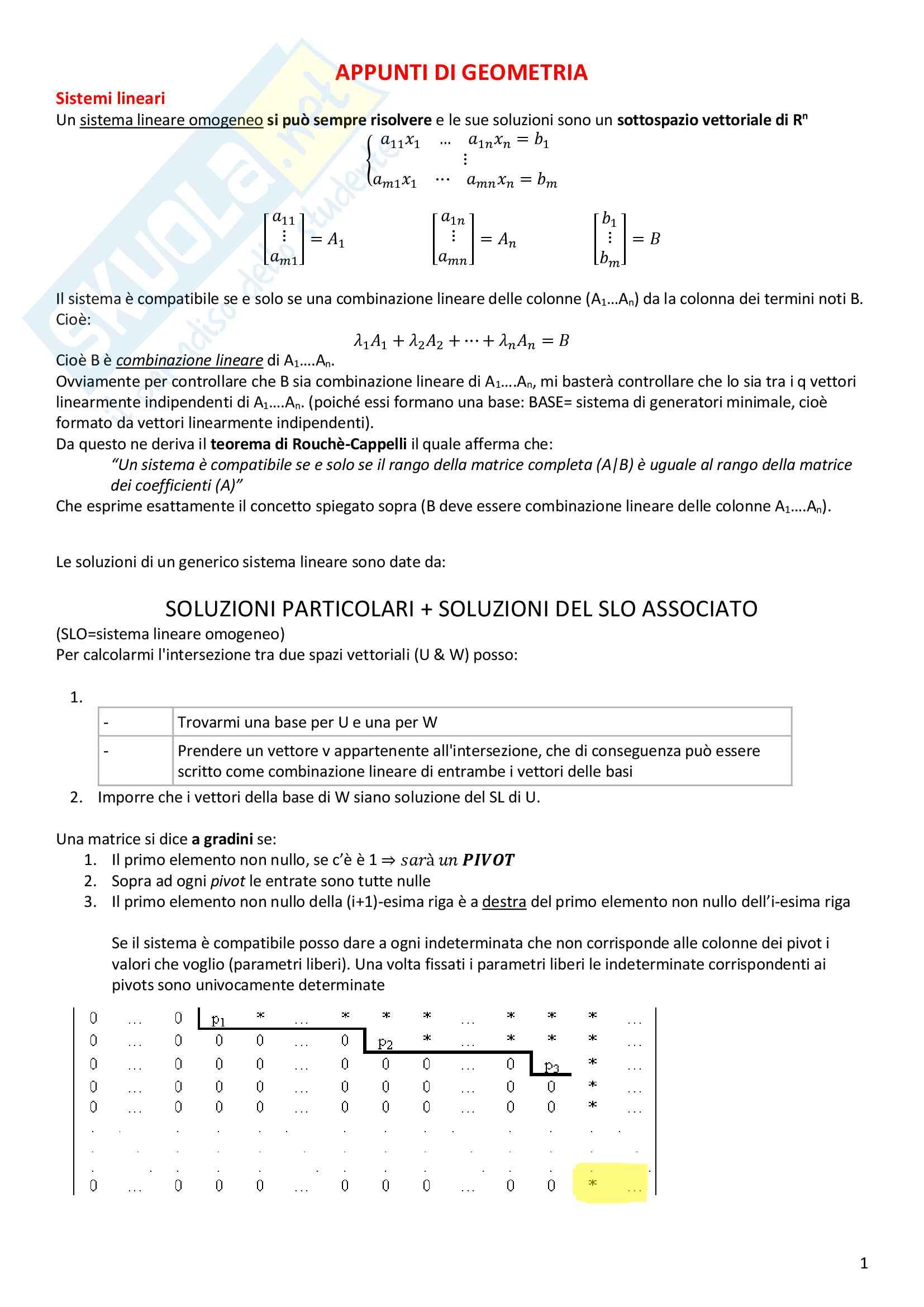 Appunti di Geometria (algebra lineare)