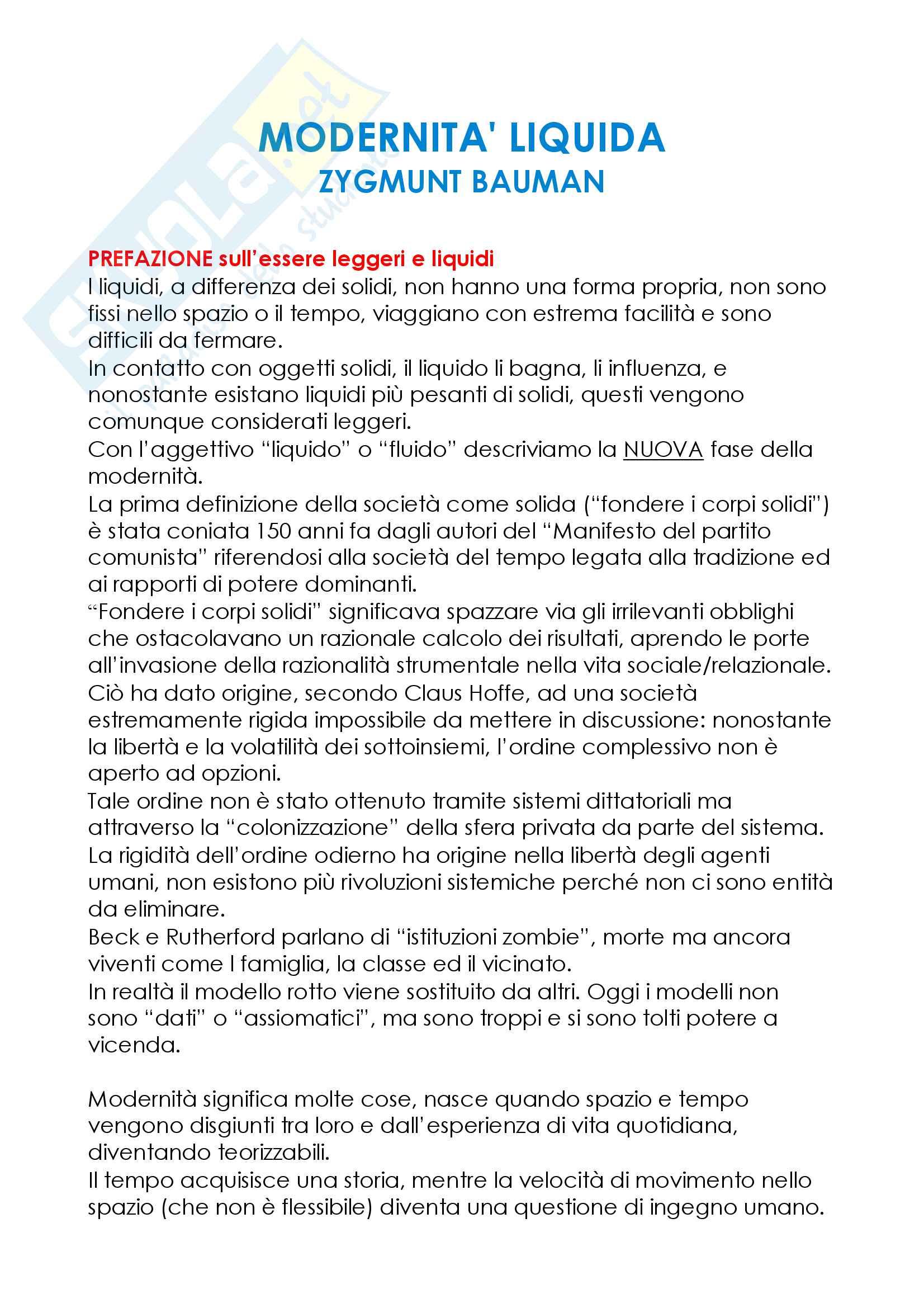 Riassunto esame Sociologia della cultura, prof. De Biasi, libro consigliato Modernità Liquida, Zygmunt Bauman