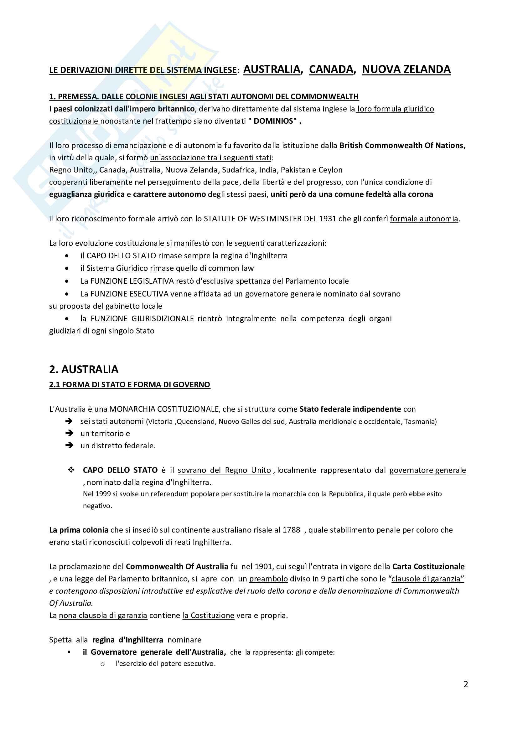 Riassunto esame Diritto Pubblico Comparato, prof. Spadaro, libro consigliato Diritto Pubblico Comparato di Carrozza, Giovine e Ferrari Pag. 1