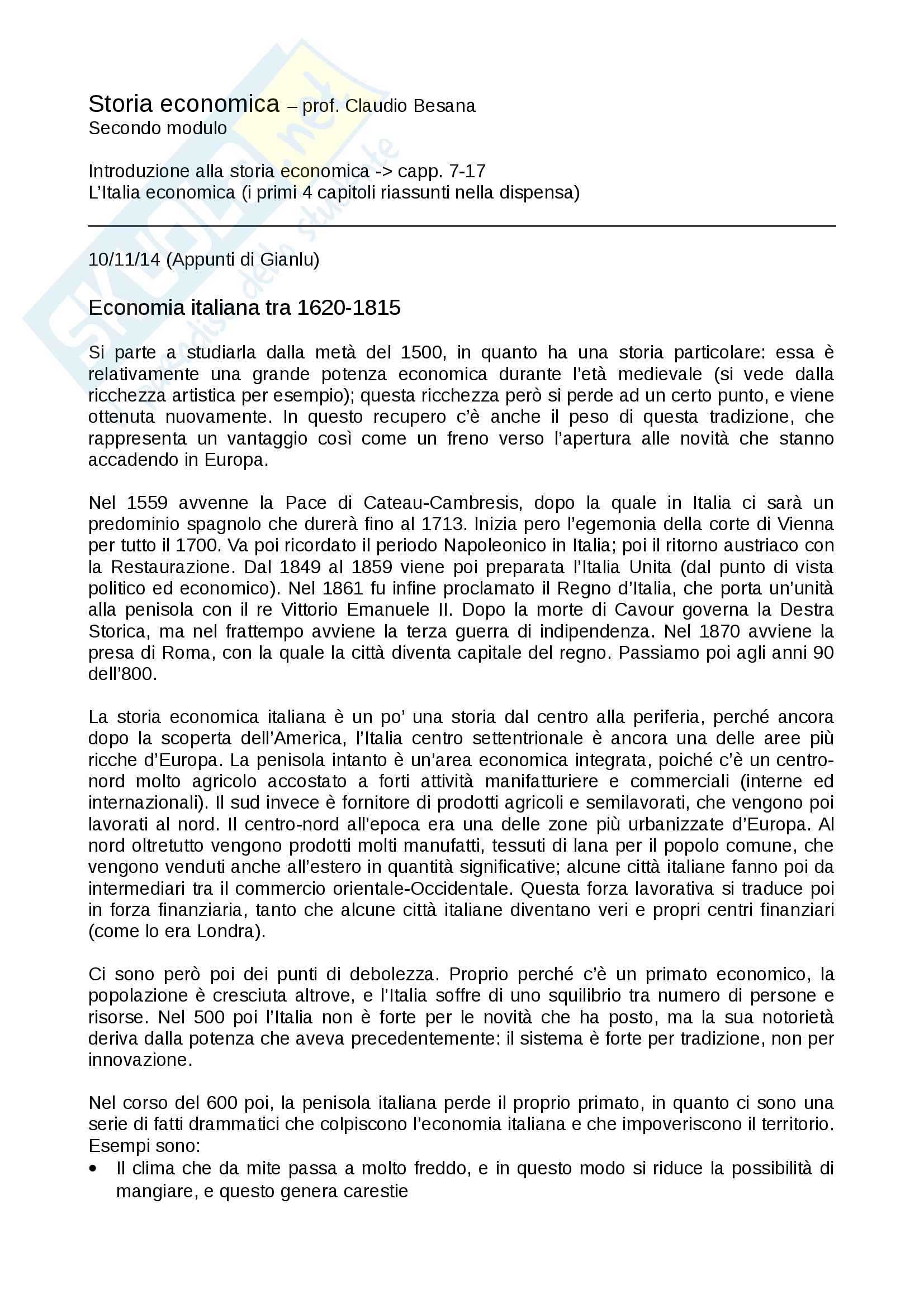 Appunti Storia economica Besana UNICATT
