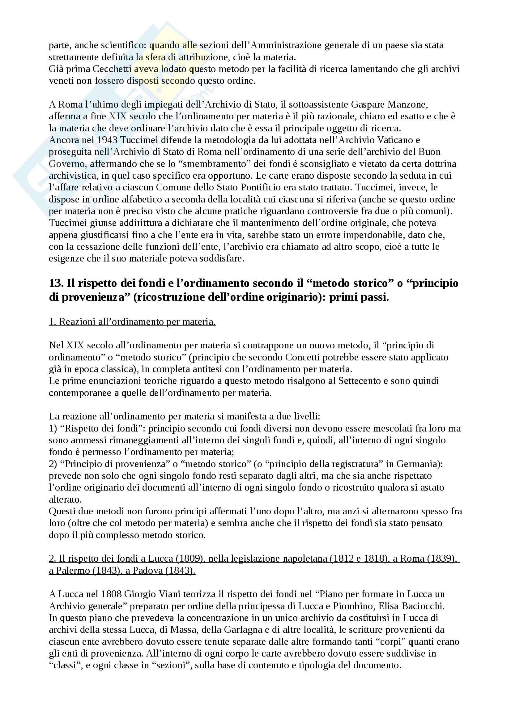 Riassunto esame Archivistica, prof. Twardzik, libro consigliato Storia dell'archivistica italiana, Lodolini Pag. 21