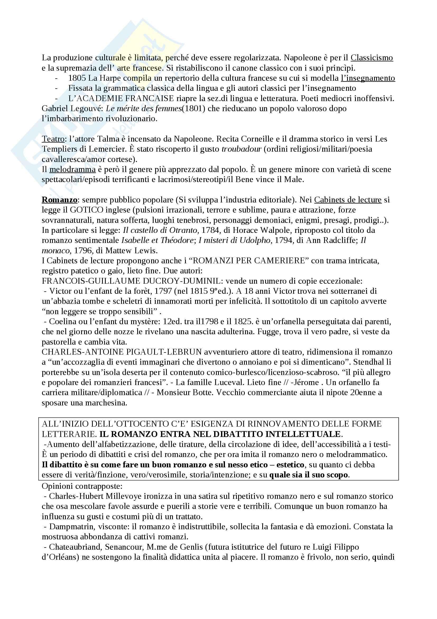 Riassunto esame Letteratura francese, prof. Guaraldo, libro consigliato Il romanzo francese dell'Ottocento, Scaiola Pag. 2