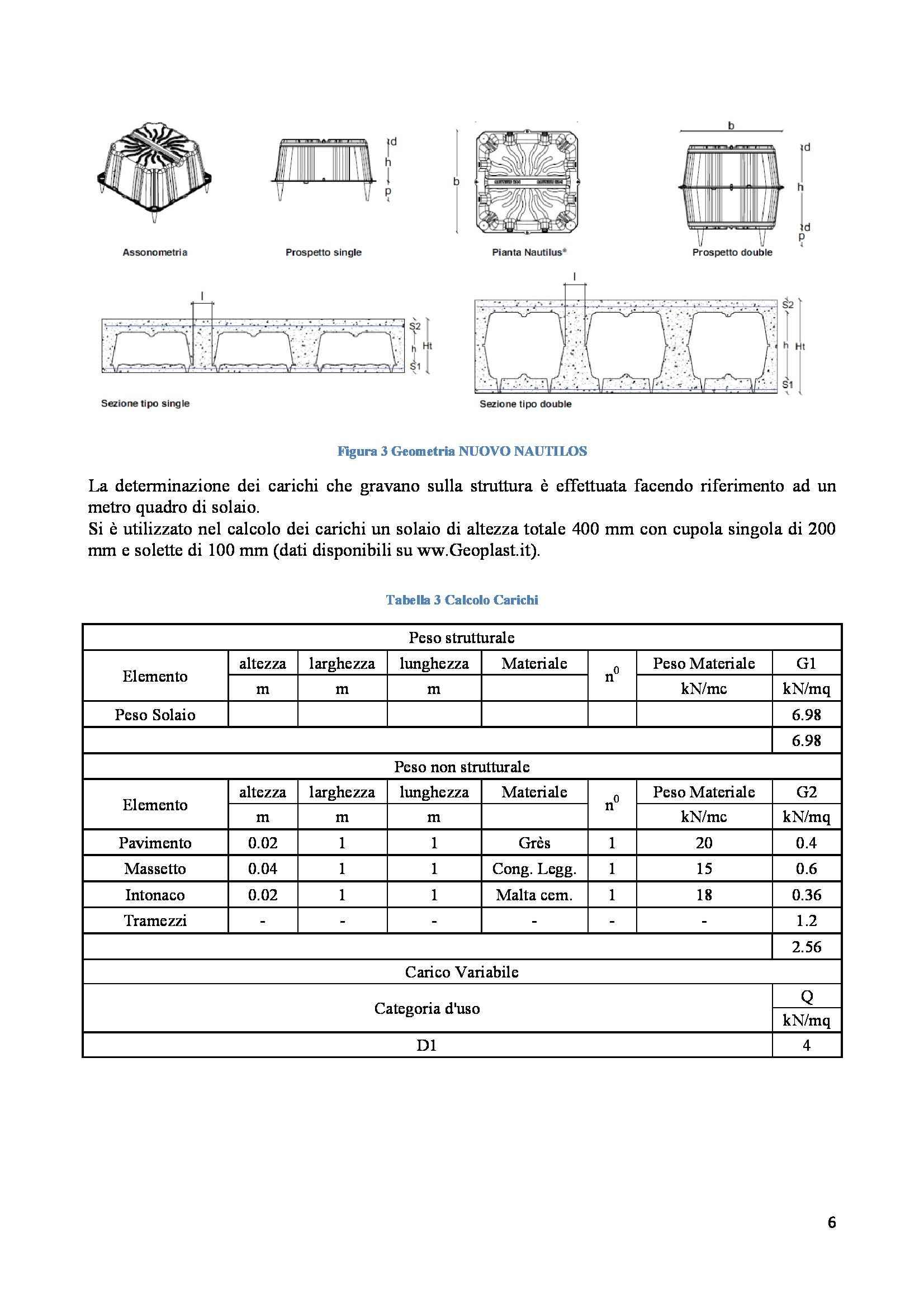 Progetto di strutture - progetto di un solaio bidirezionale in cemento armato Pag. 6