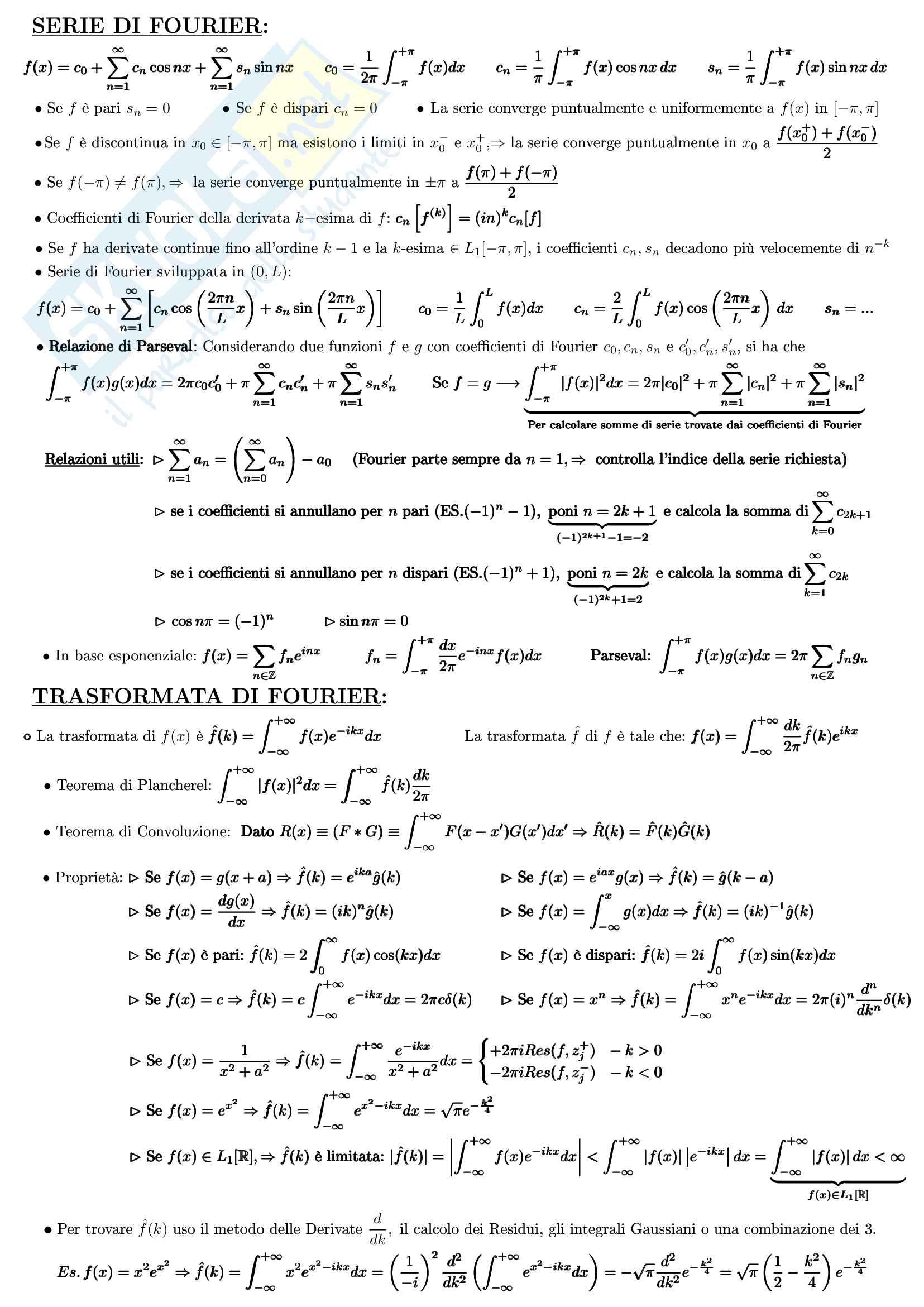 Formulario Completo per l'esame di Metodi e Modelli Matematici della Fisica (Analisi Complessa+Funzionale) Pag. 6