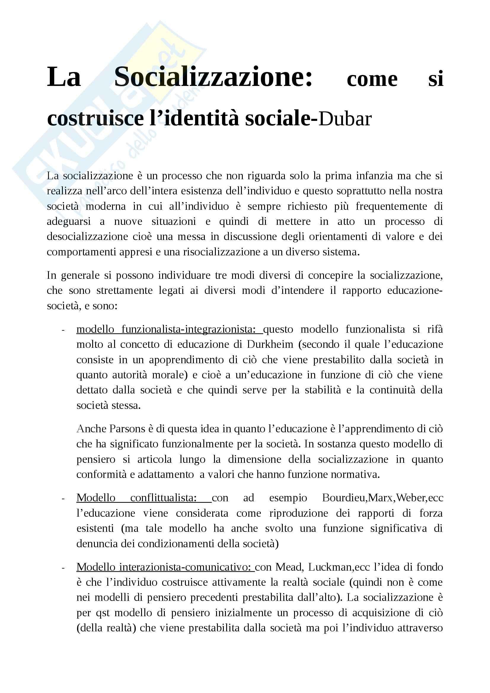 Riassunto esame Sociologia dell'educazione, prof. Giardiello, libro consigliato La socializzazione, Dubar
