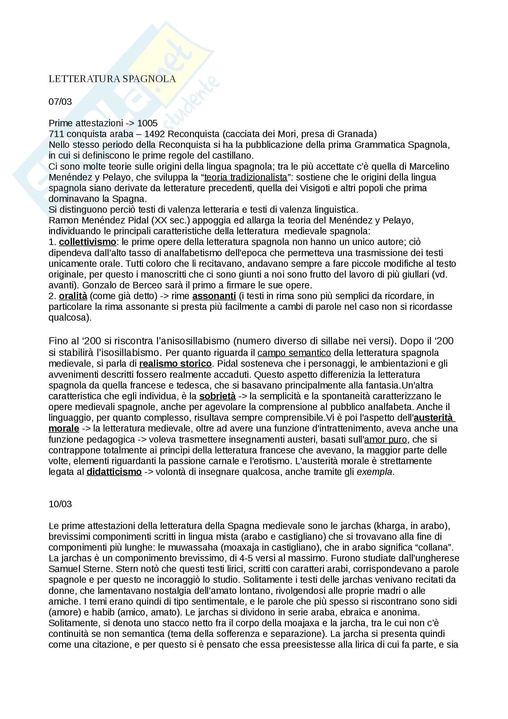 Appunti letteratura Spagnola I