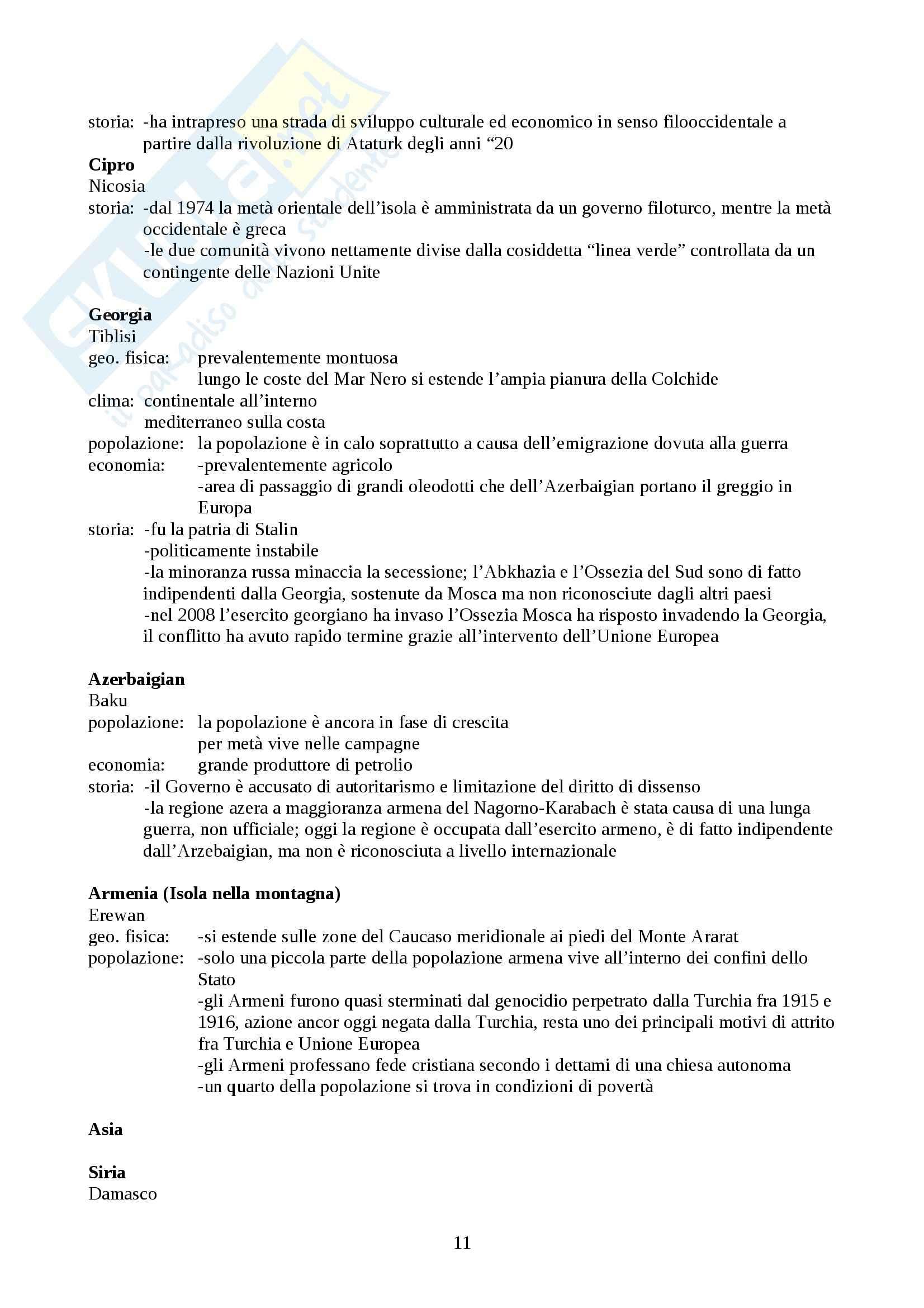 Riassunto esame Geografia, Prof. Macchia, libro consigliato Il mondo e i suoi paesi, Macchia Pag. 11