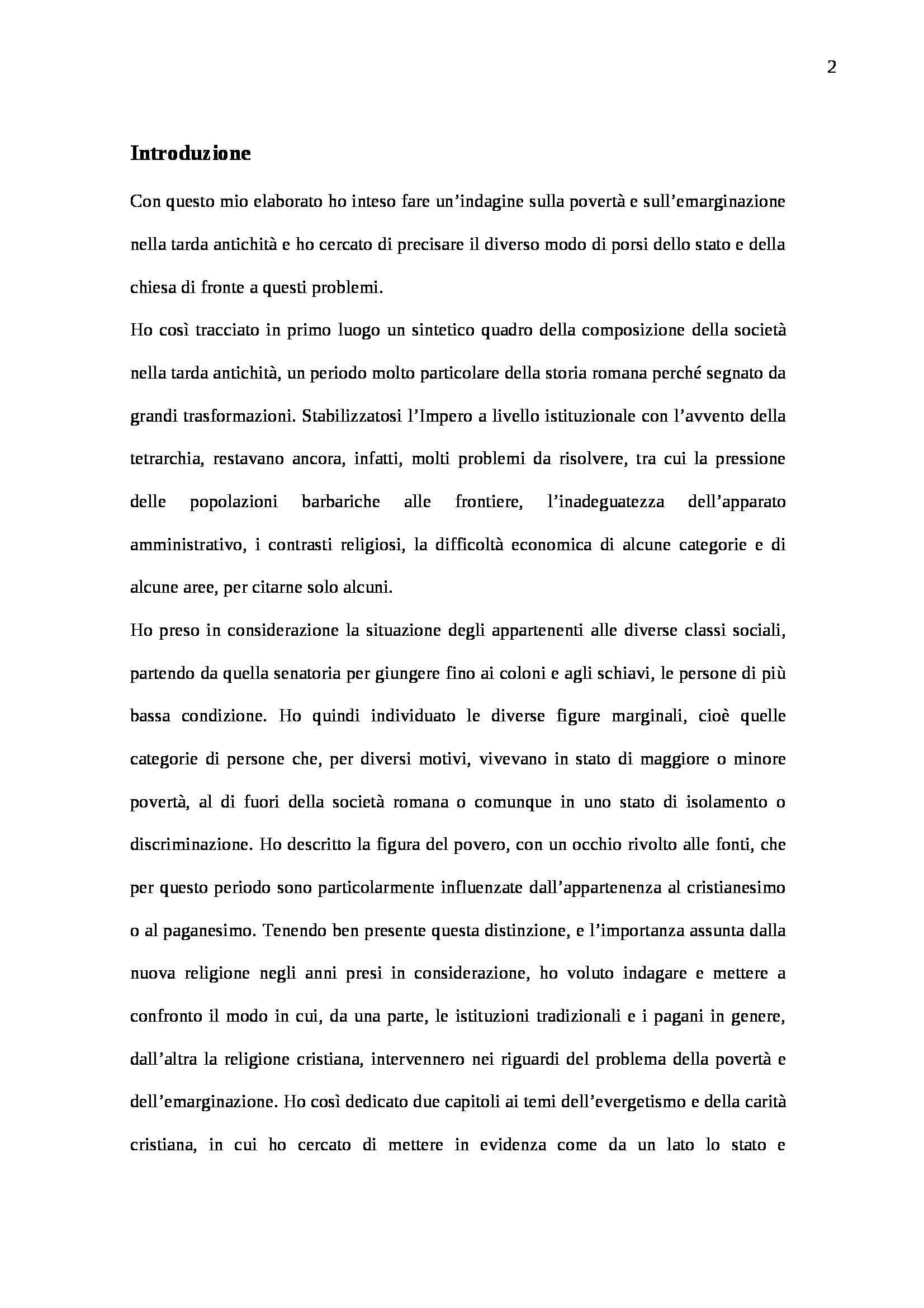 """""""Povertà ed emarginazione nel tardo impero romano"""" di dr. Ilaria Provasio Pag. 2"""