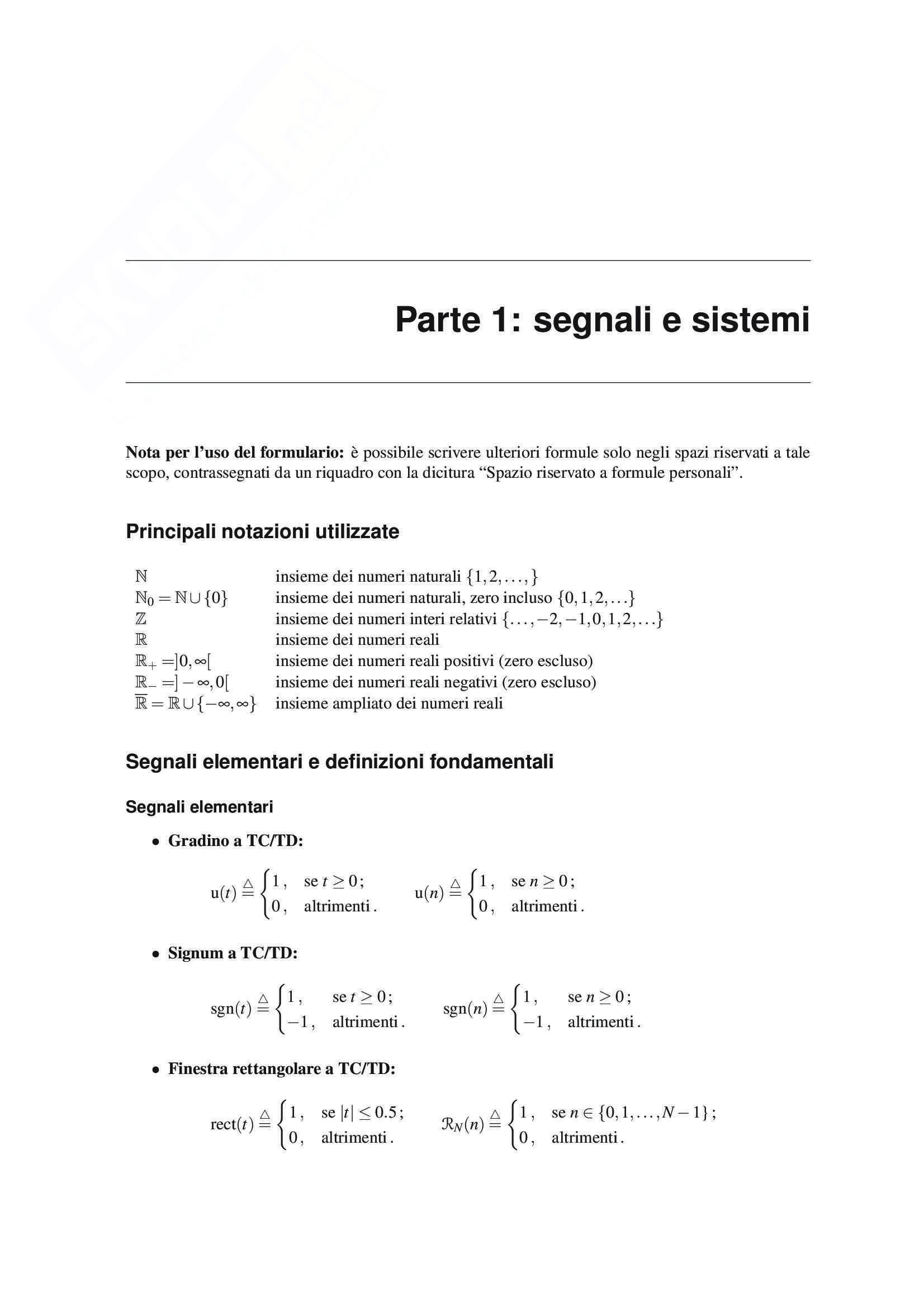 Teoria dei segnali -Formulario Completo