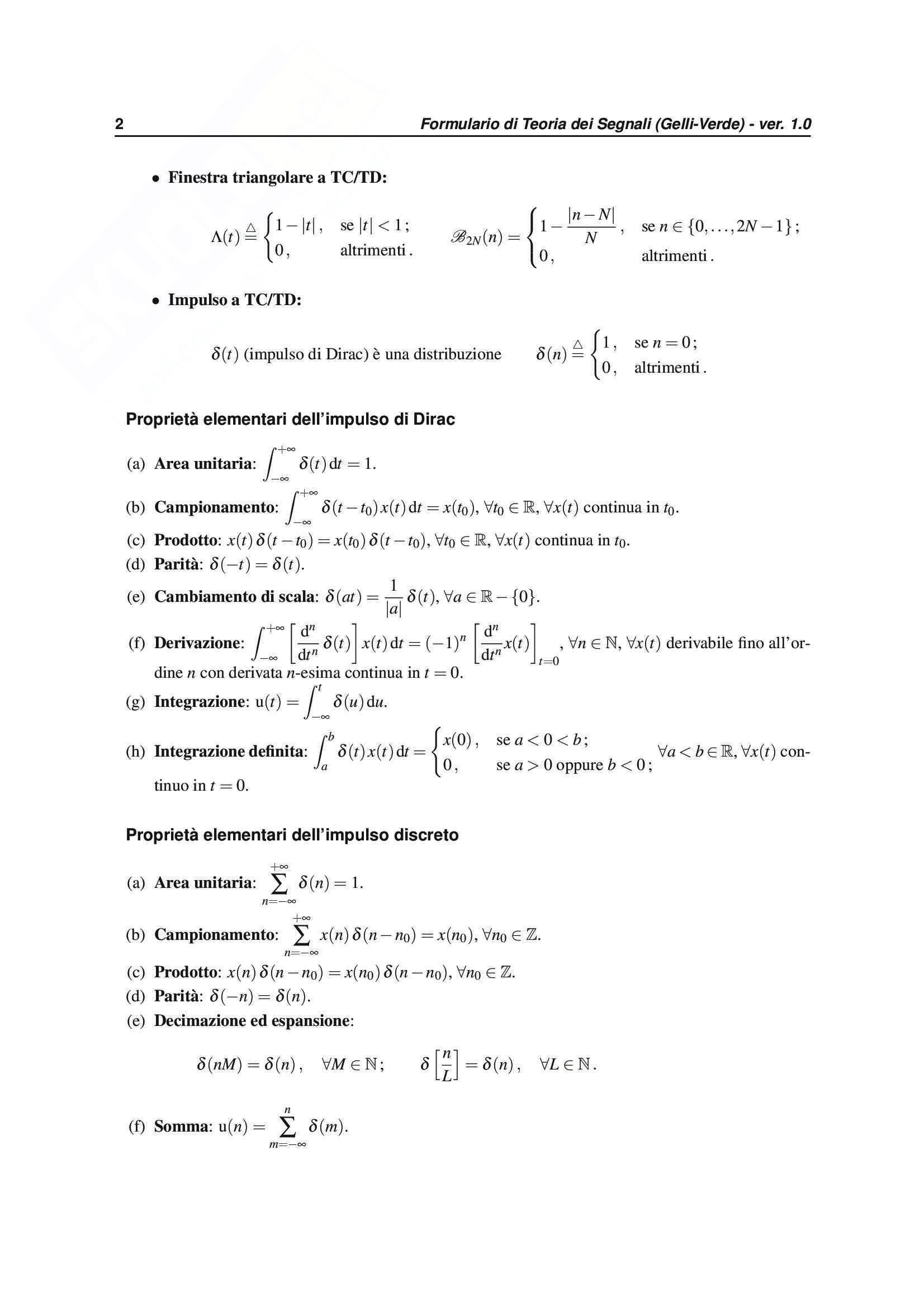 Teoria dei segnali -Formulario Completo Pag. 2