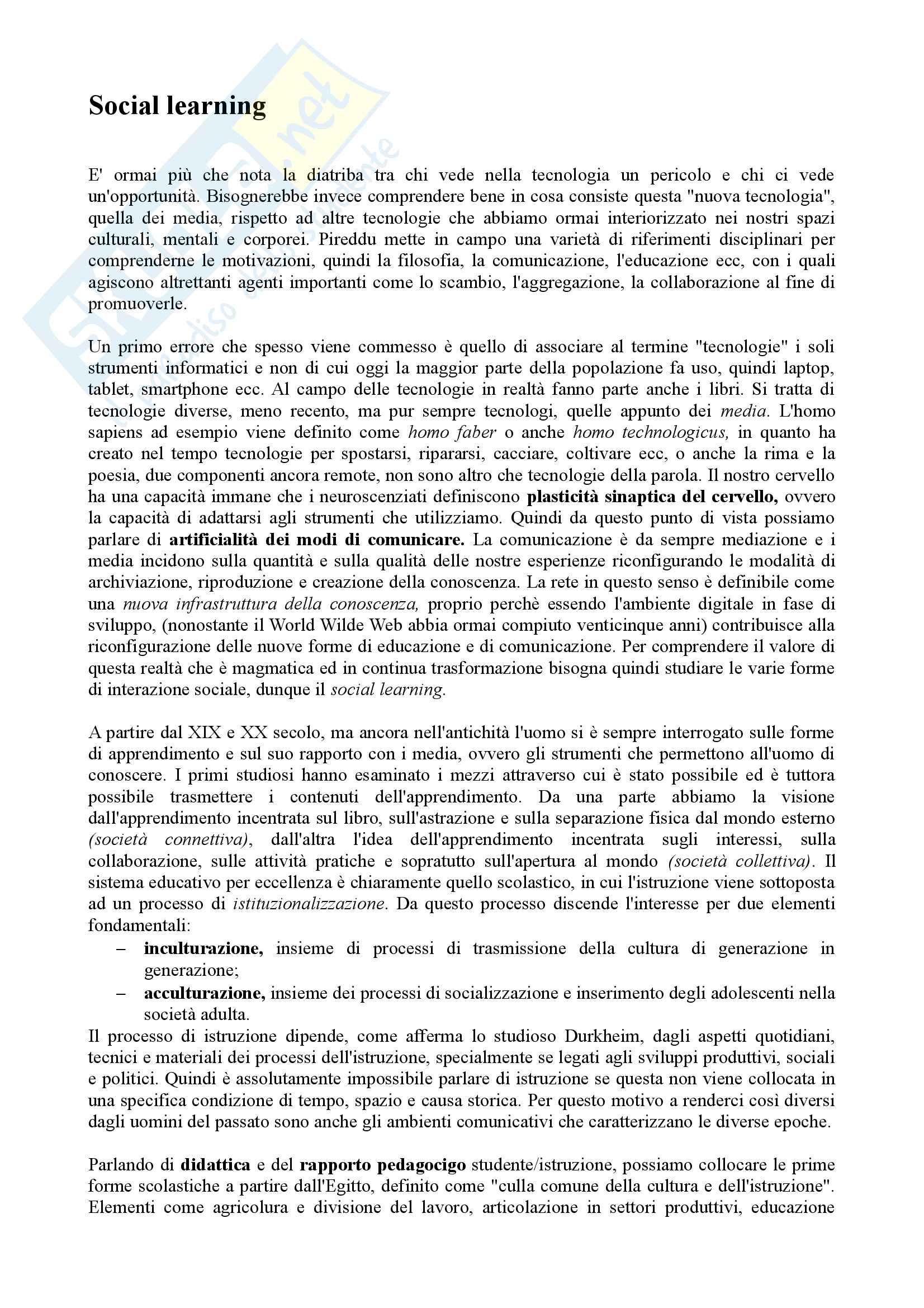 Riassunto esame Comunicazione multimediale, prof. Pireddu, libro consigliato Social Learning