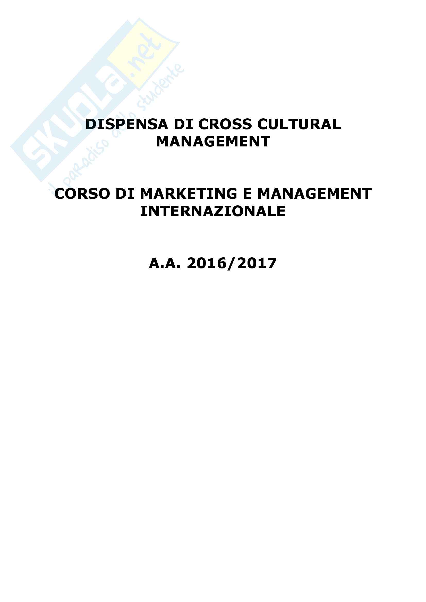 Riassunto esame di Cross cultural management, prof. Cannavale, libro consigliato Competenze culturali ed internazionalizzazione delle imprese, Cannavale