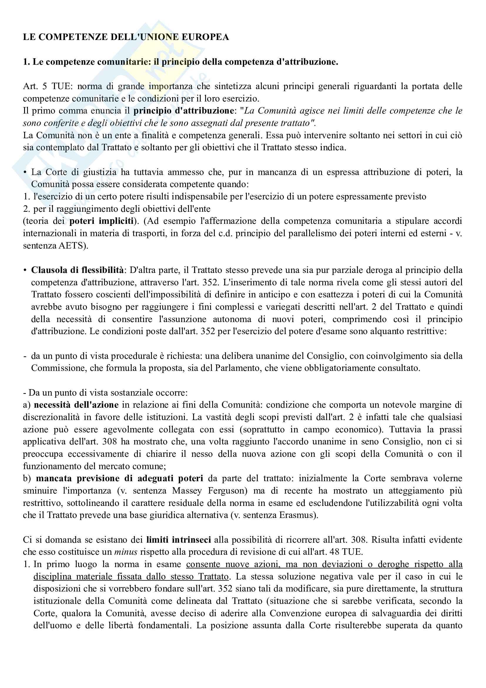 Riassunto esame Diritto dell'Unione Europea, prof. Daniele, prof. Cortese