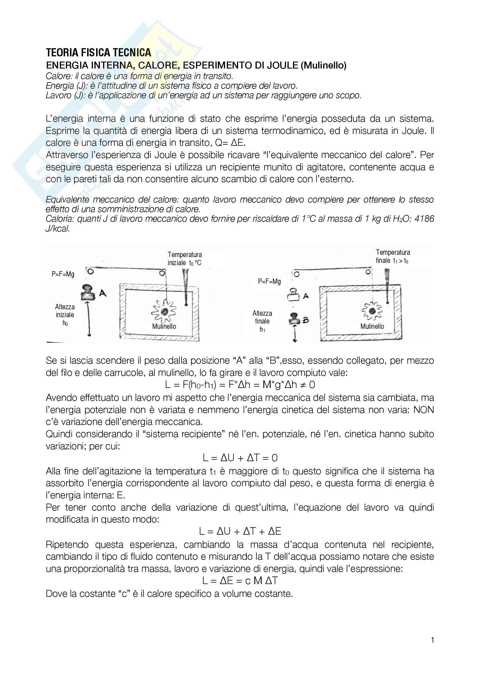 Fisica Tecnica (Domande, Grafico di Mollier, Esercizi d'esame)
