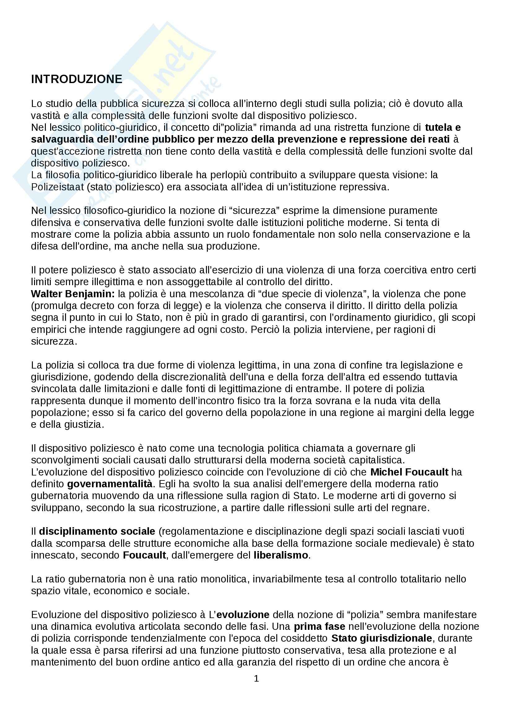 Riassunto esame Sociologia, prof. Federici, libro consigliato Genealogia della pubblica sicurezza, Campesi