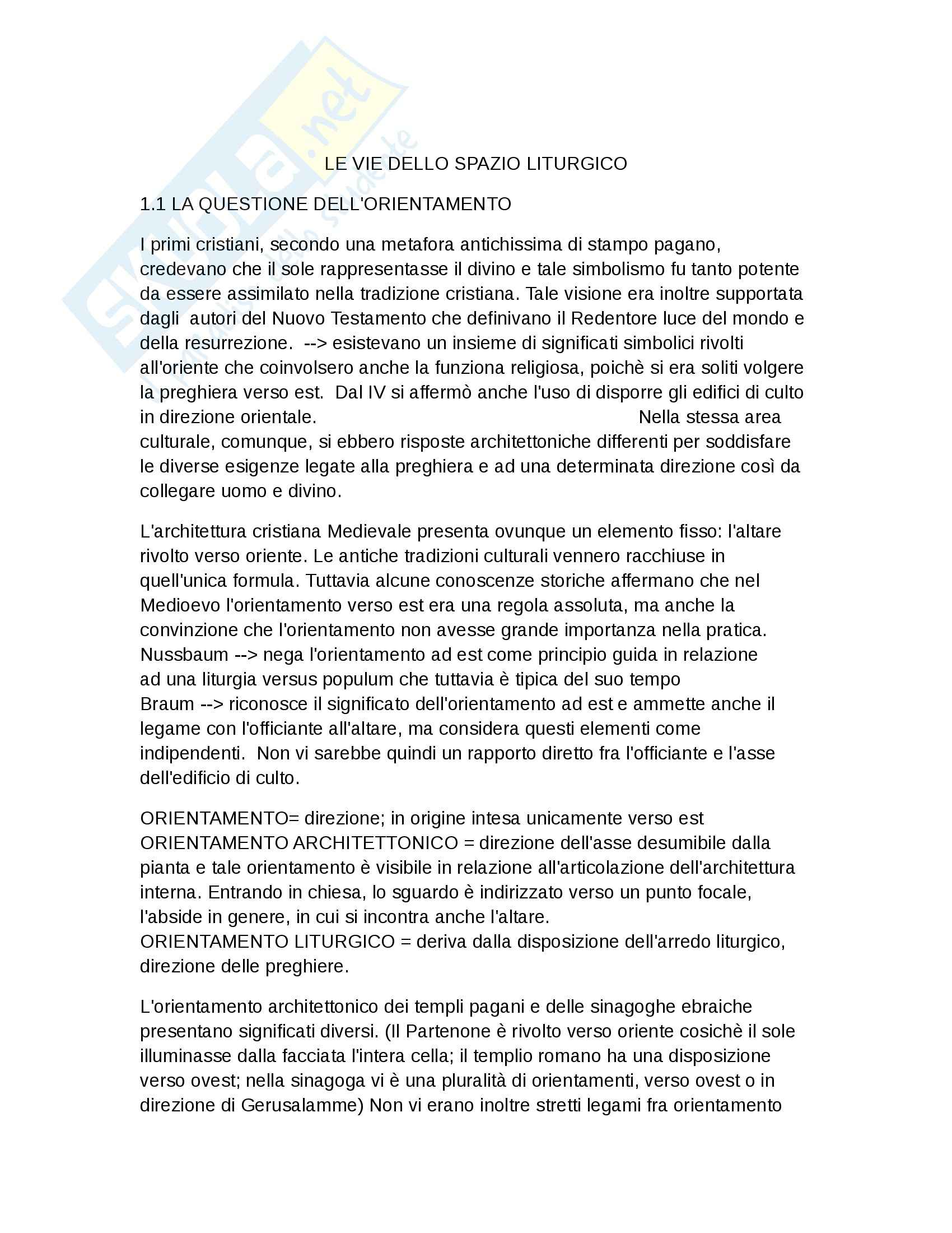Riassunto esame storia dell'arte medievale, Prof Calzona, libro consigliato Le vie dello spazio liturgico, Piva, 1 parte