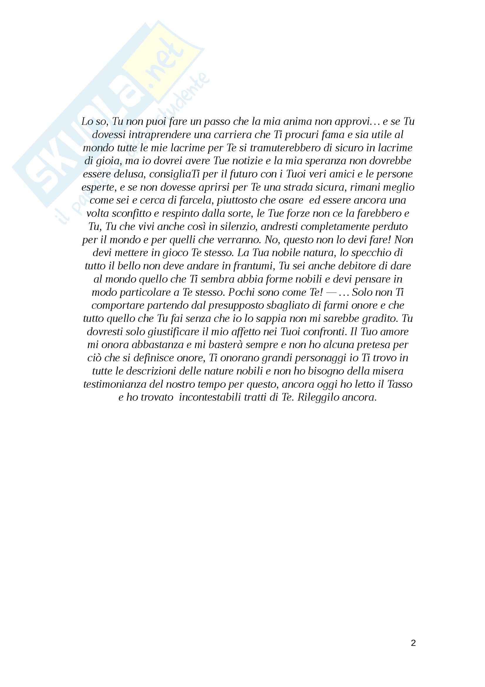 Tesi, Diotima in Hölderlin: biografia attraverso le lettere Pag. 2