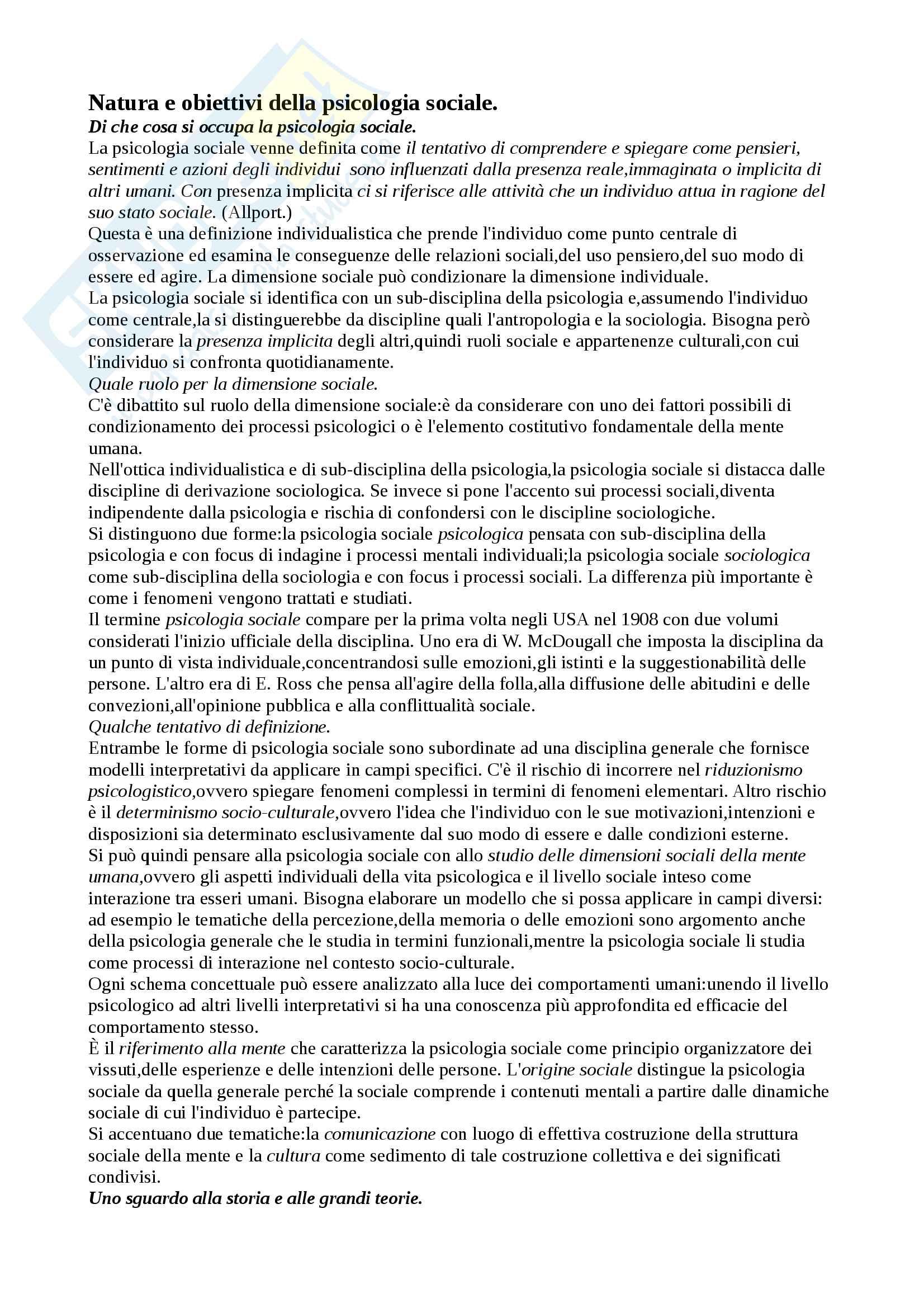 Riassunto esame psicologia sociale edambientale del prof. Inghilleri, libro consigliato La psicologia sociale di G. Leone, B.M. Mazzara, M. Sarrica