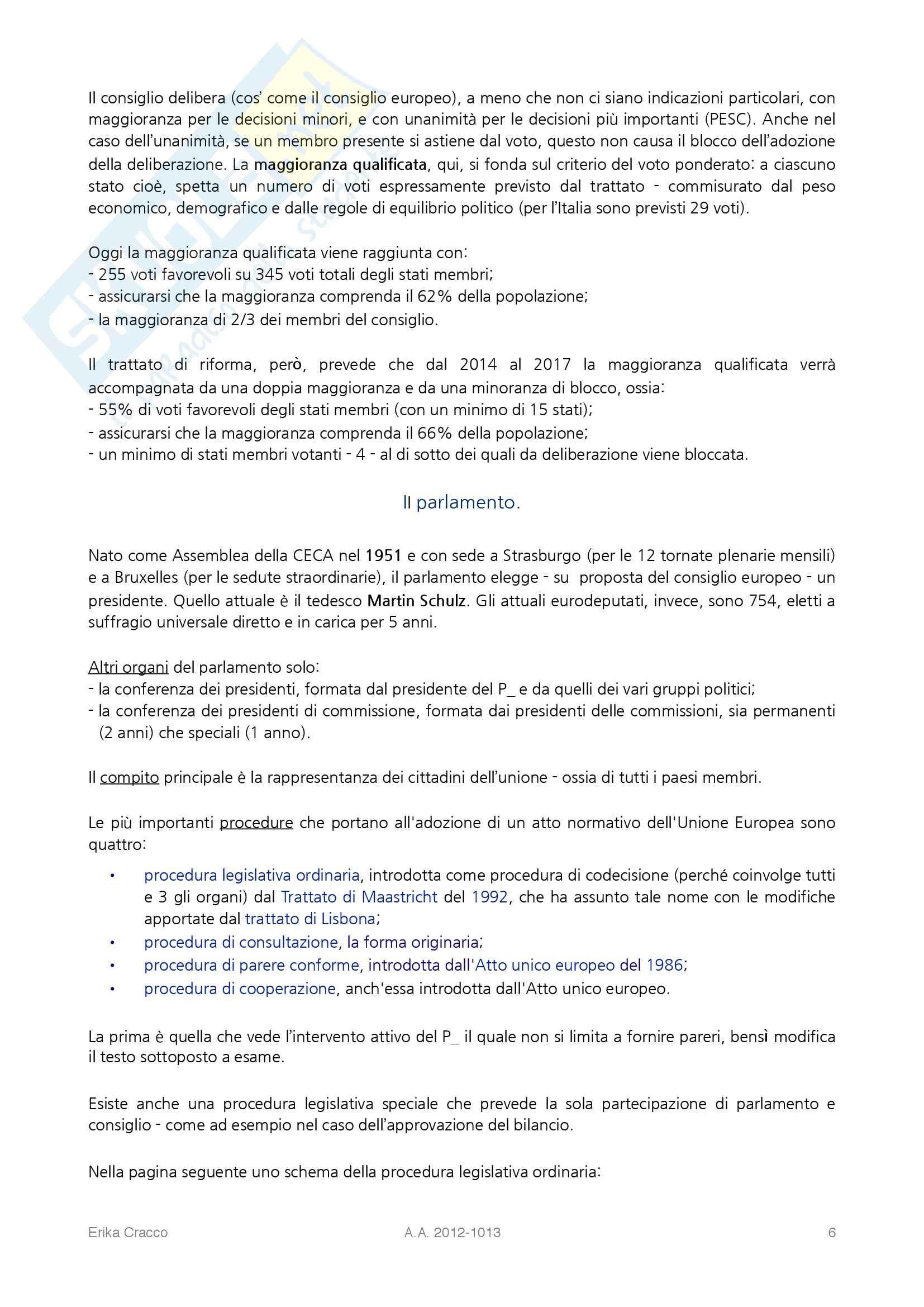 Riassunto esame Diritto dell'Unione Europea, prof. Cecchini, libro consigliato Lineamenti di Diritto dell'Unione Europea, Valvo Pag. 6