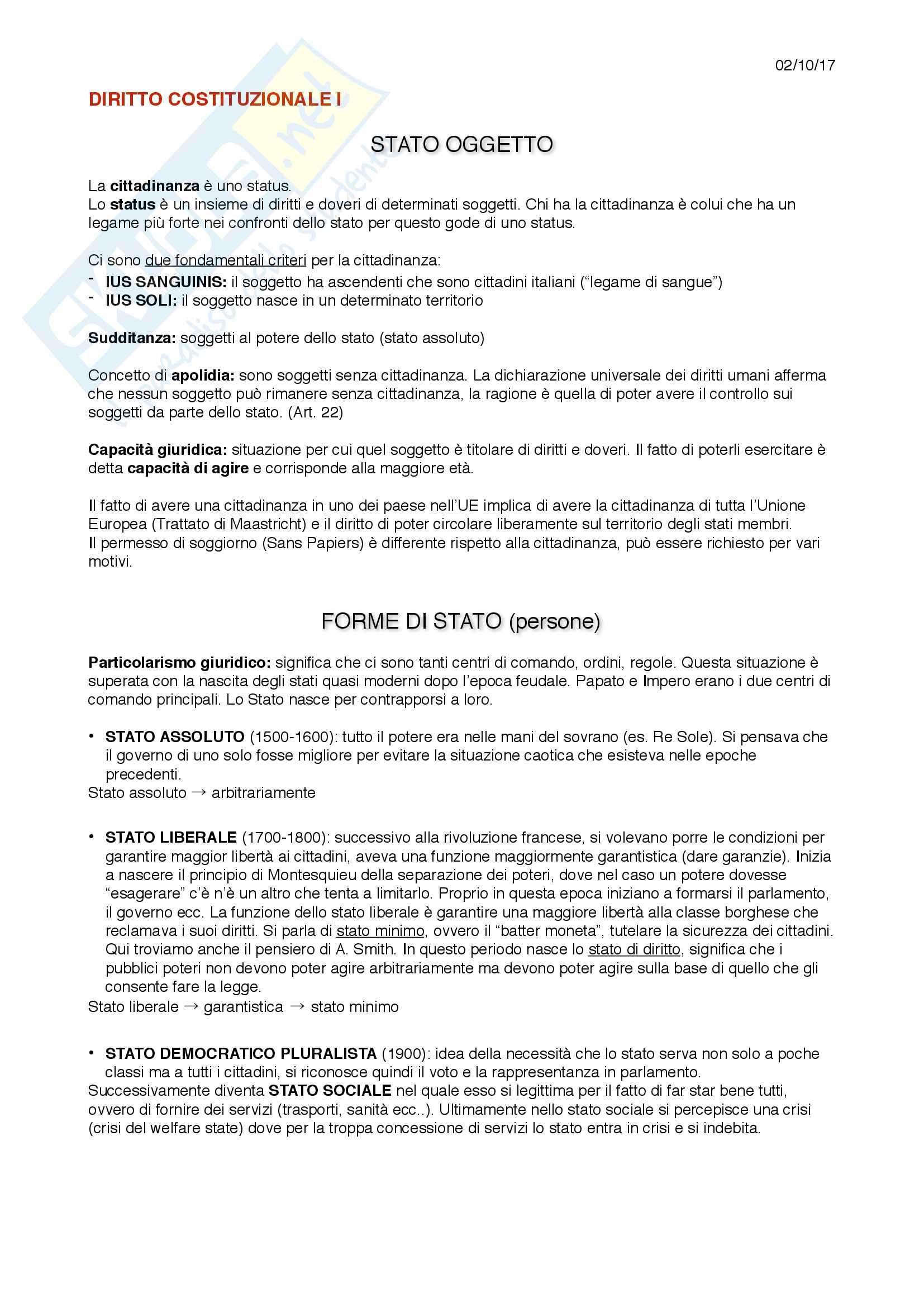 Appunti intero corso Diritto Costituzionale I - L. Trucco