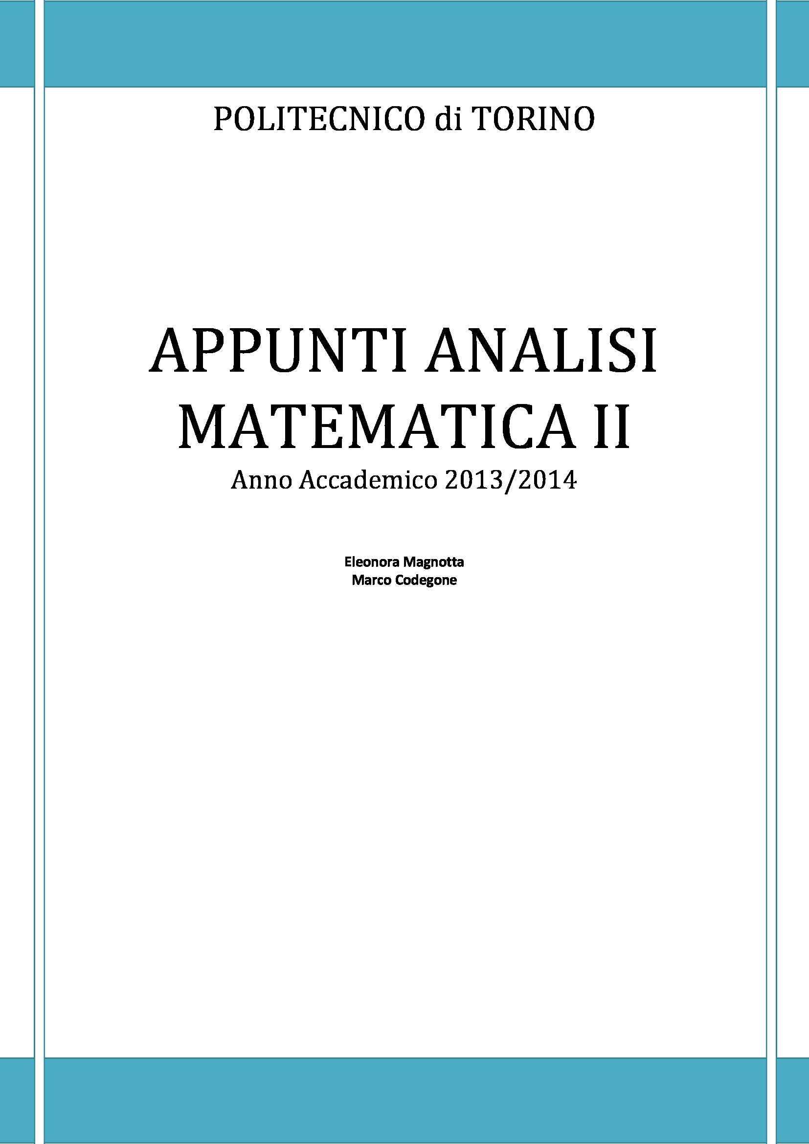 appunto M. Codegone Analisi matematica II