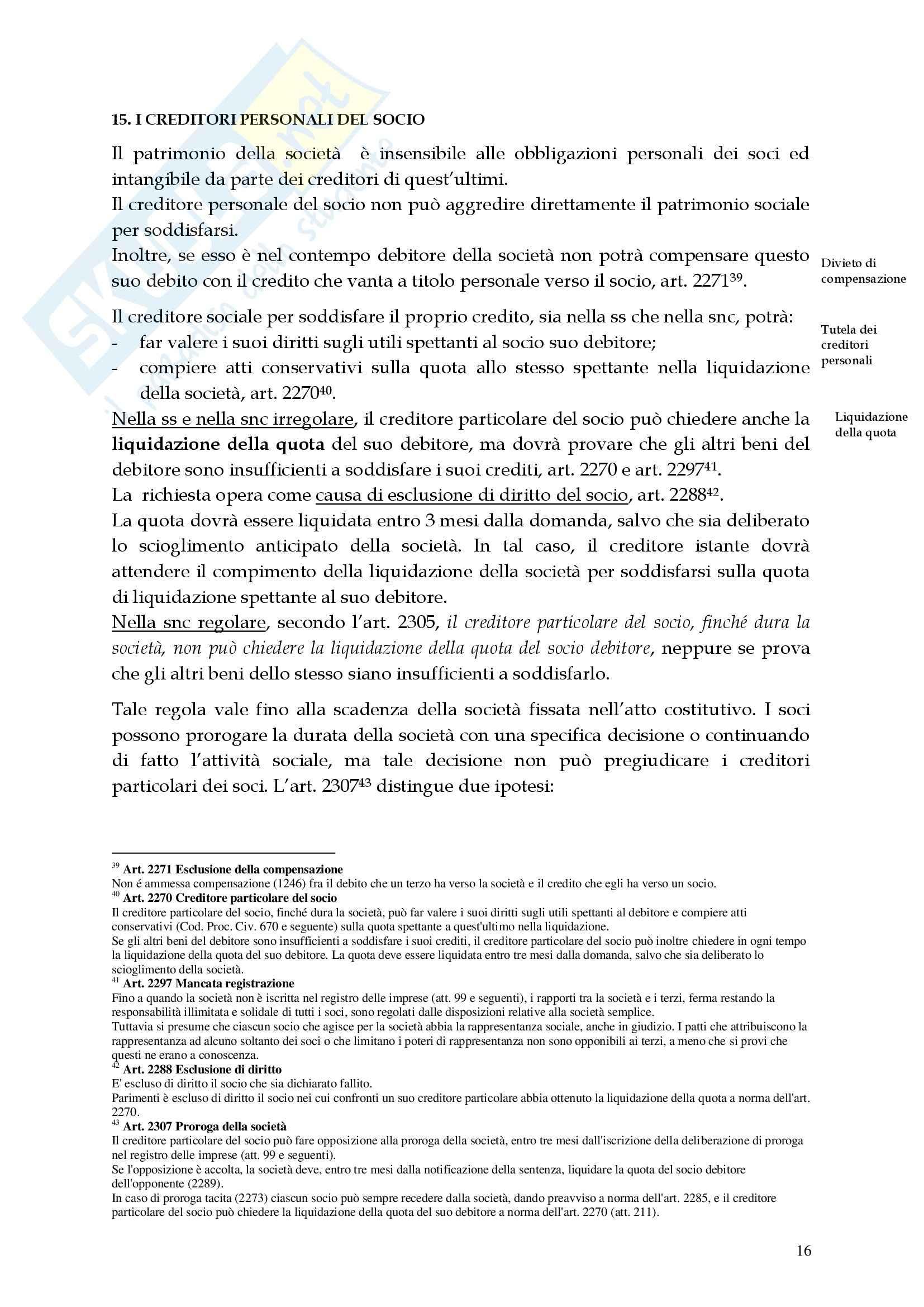 Diritto commerciale - la società in nome collettivo Pag. 16
