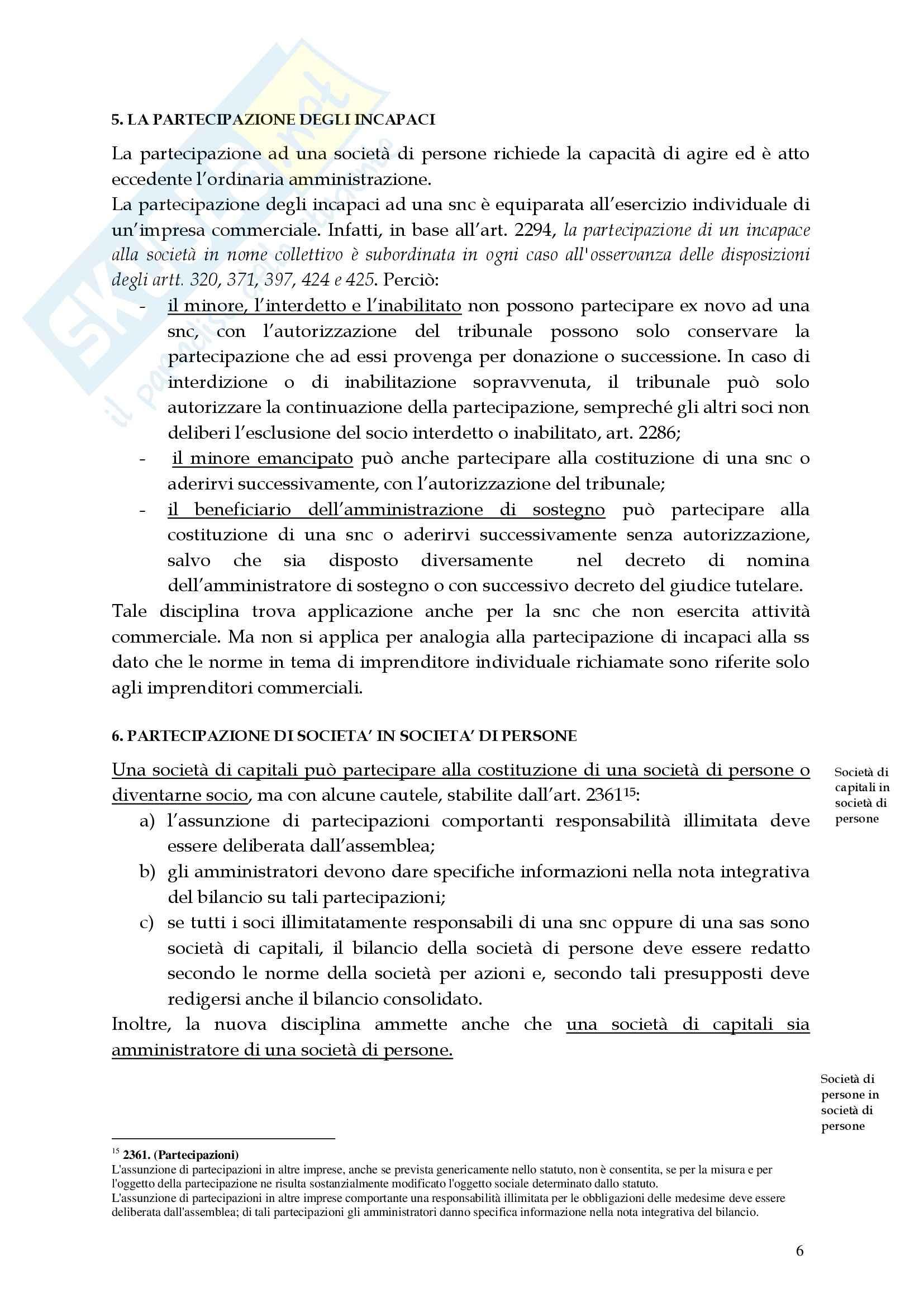 Diritto commerciale - la società in nome collettivo Pag. 6