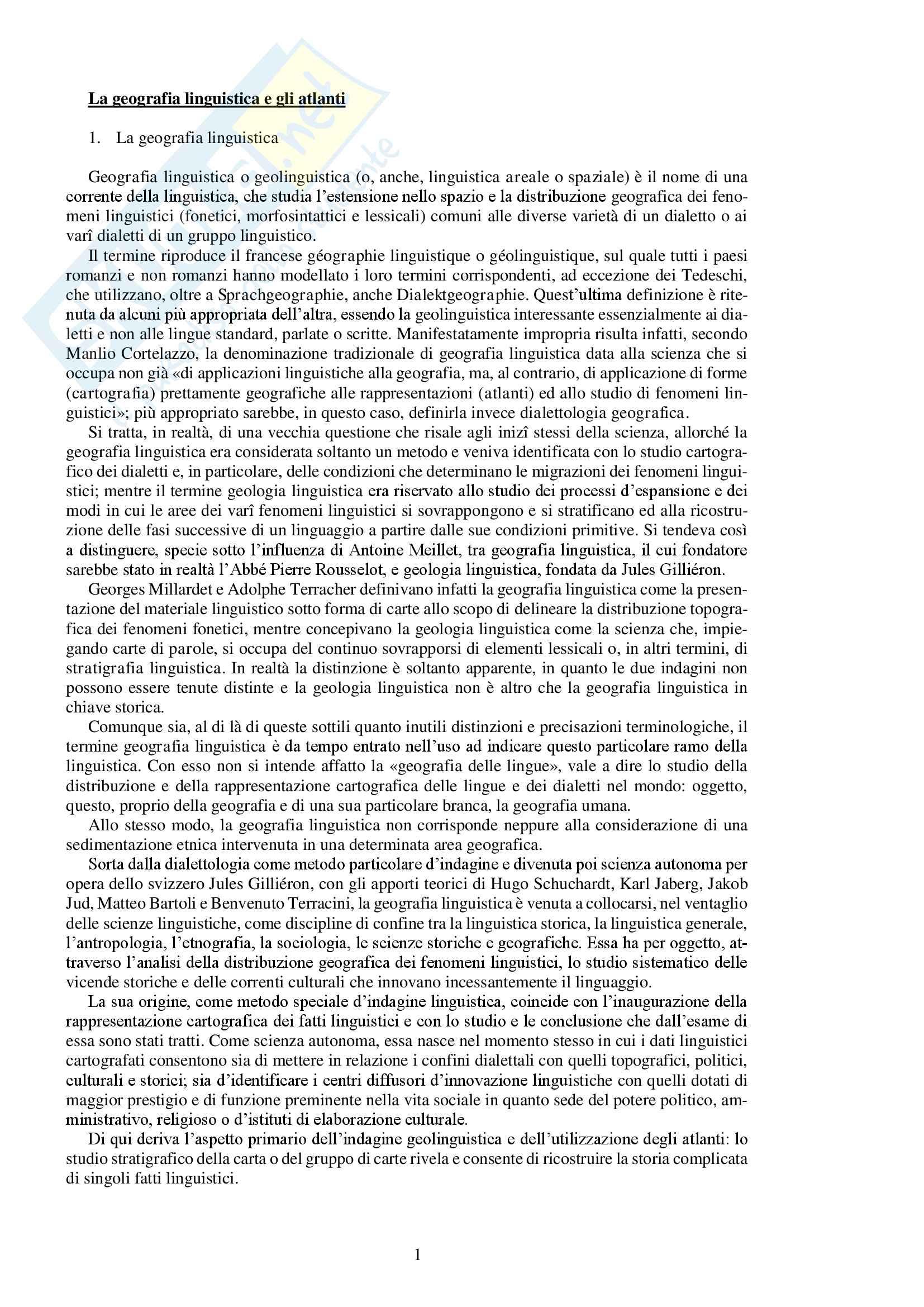 """Riassunto esame Geografia linguistica, prof.ssa Cugno, libro consigliato """"Gli atlanti linguistici della Romània. Corso di geografia linguistica"""" di F. Cugno e L. Massobrio"""