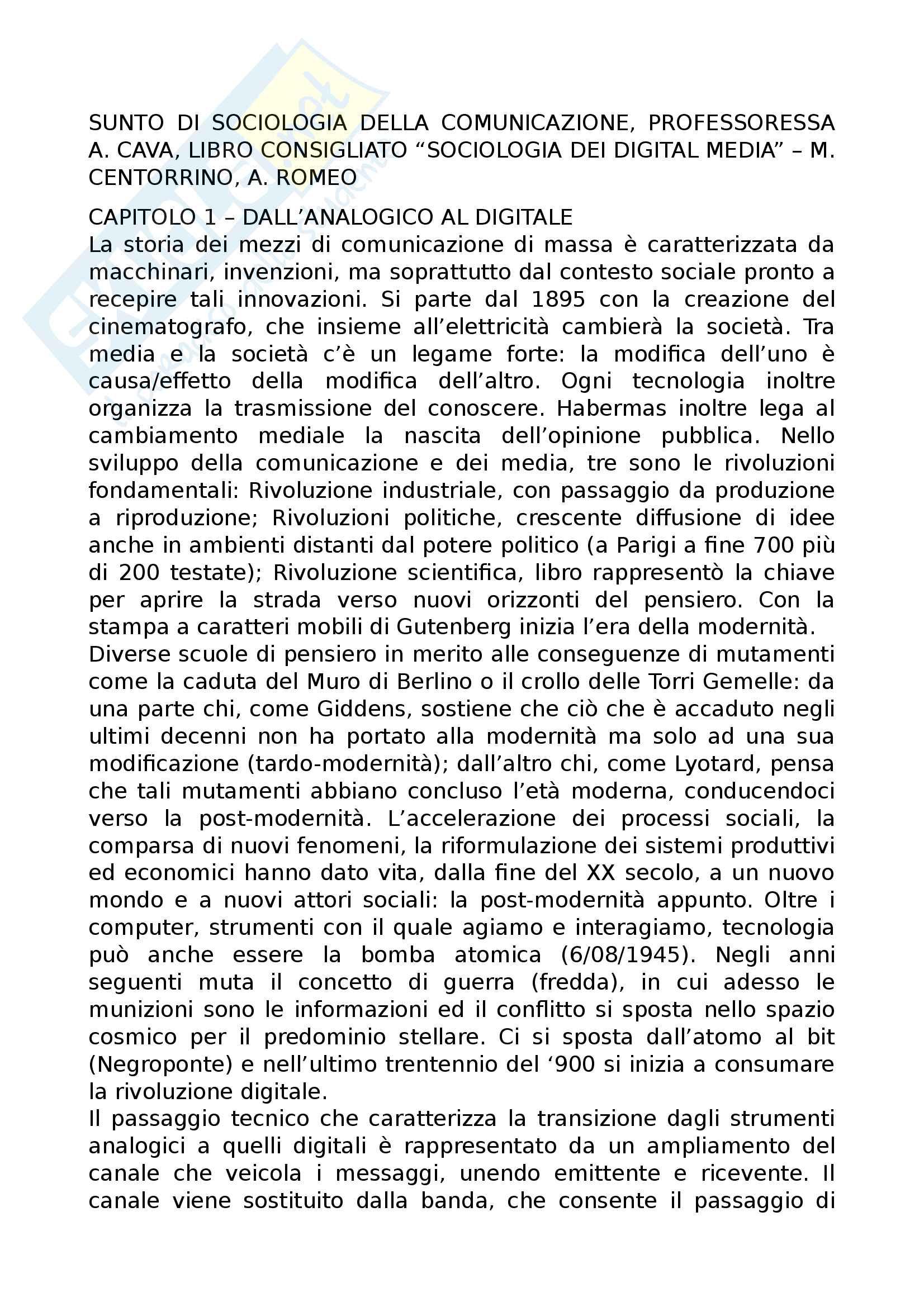 Riassunto esame Sociologia della comunicazione, prof Cava, libro consigliato Sociologia dei digital media, Centorrino, Romeo
