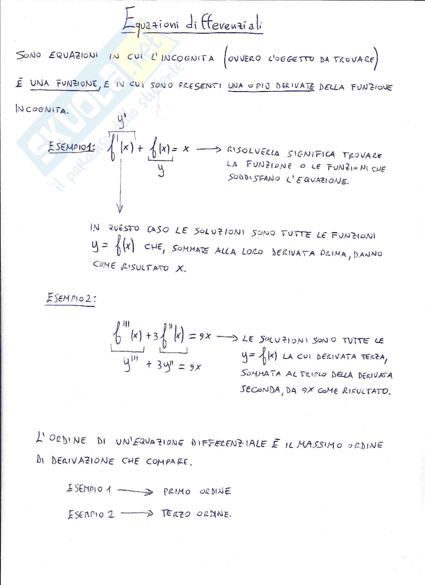 Equazioni differenziali - Problemi di Cauchy, primo ordine, variabili separabili, elementari, lineari, secondo ordine, omogenee, non omogenee