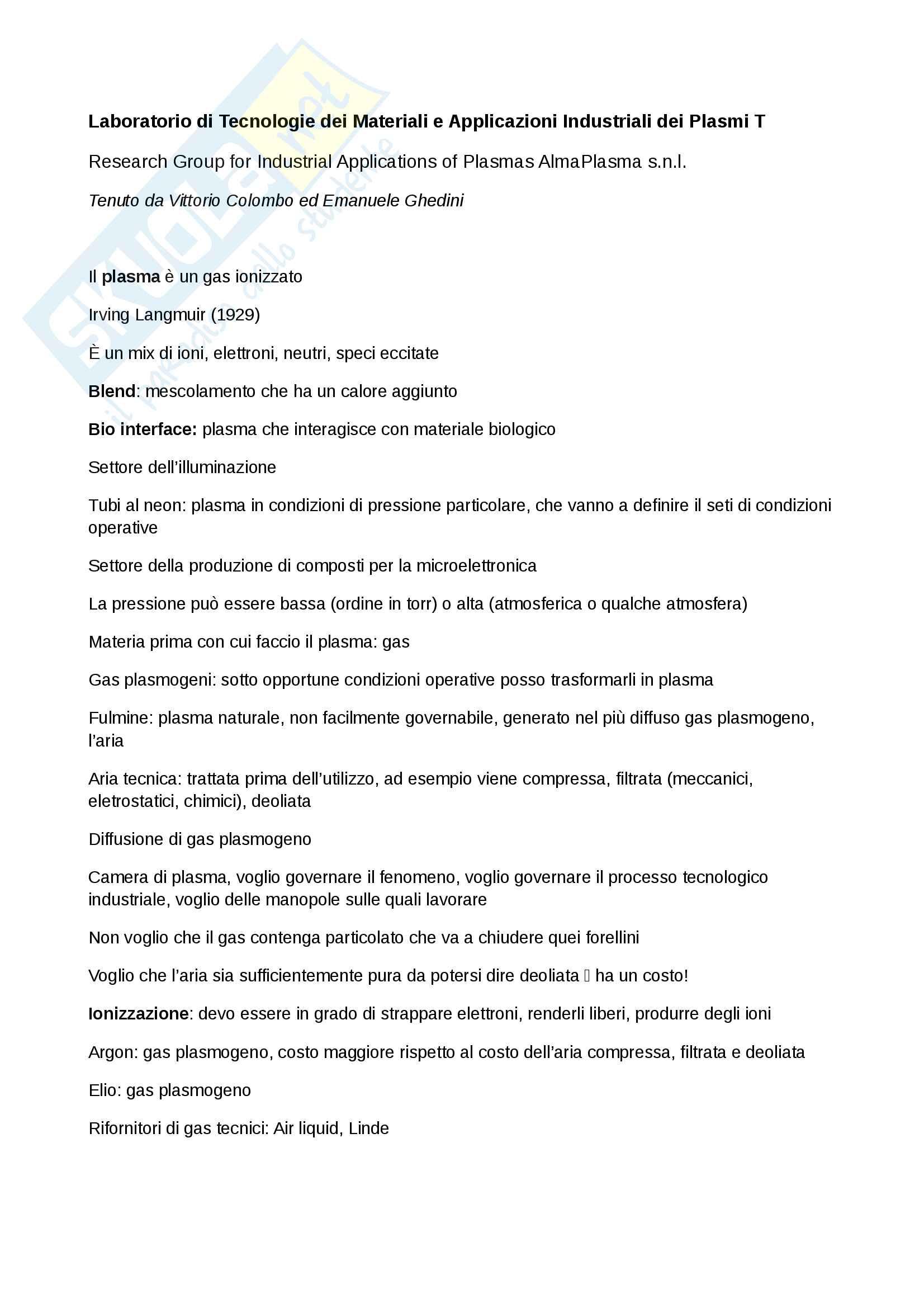 Appunti di Laboratorio di tecnologie dei materiali e applicazioni industriali dei plasmi T