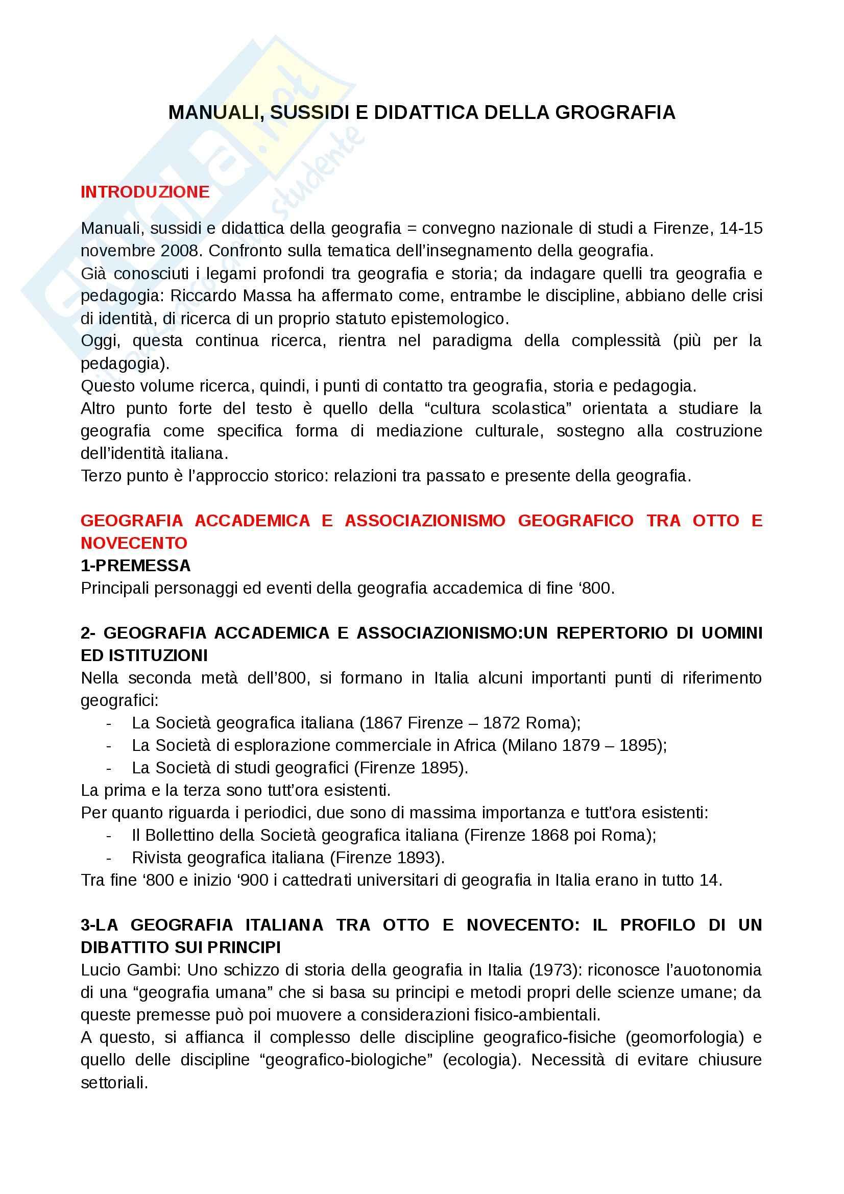 Riassunto esame Geografia, prof. Vecchio, libro consigliato Manuali, sussidi e didattica della geografia di Bandini