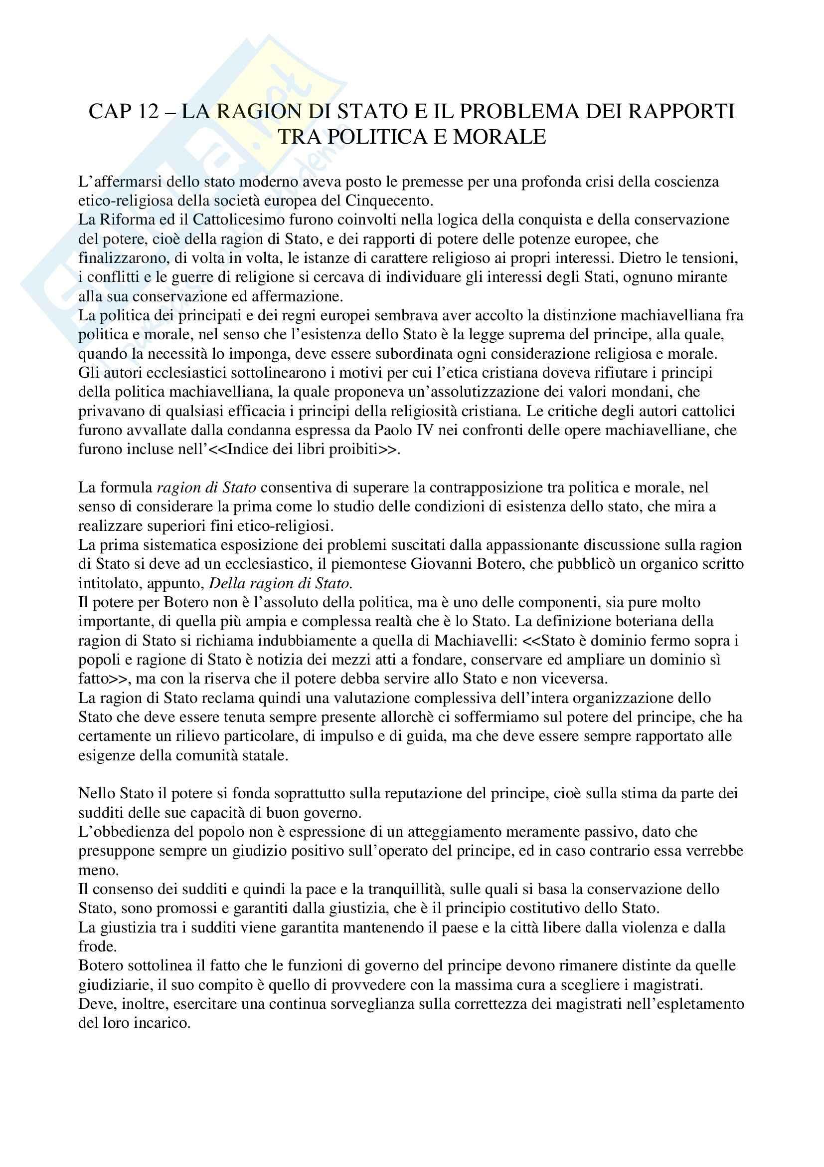 Storia delle dottrine politiche - la ragion di Stato - Riassunto esame, prof. Lazzarino
