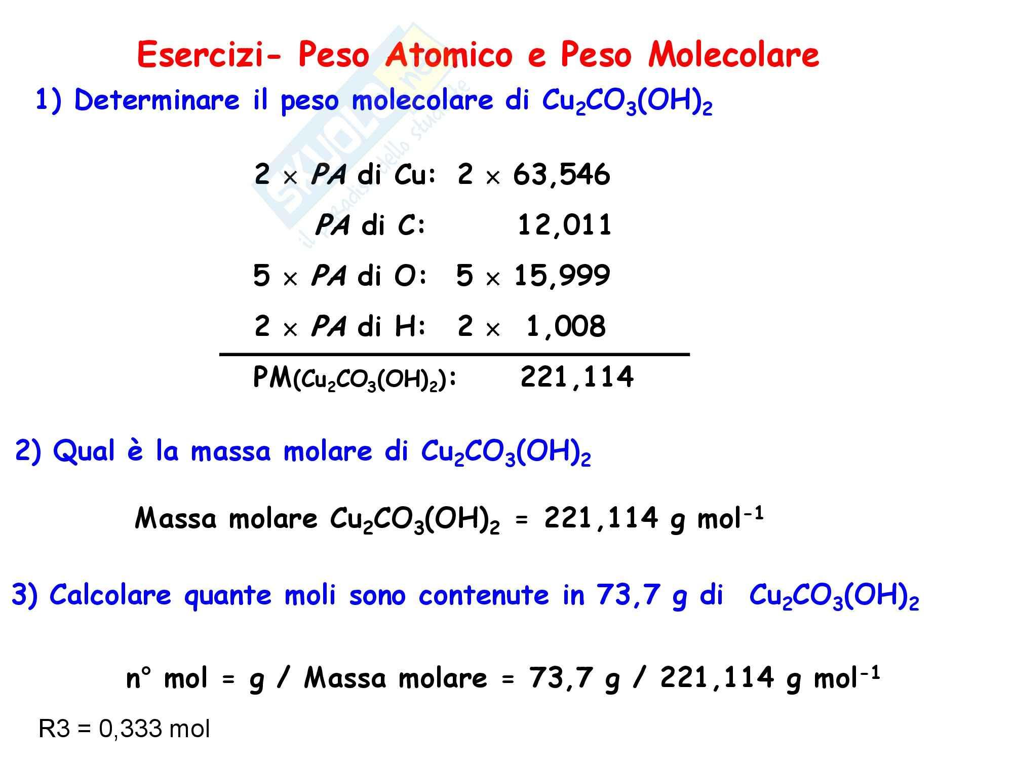 Chimica inorganica - peso atomico e peso molecolare