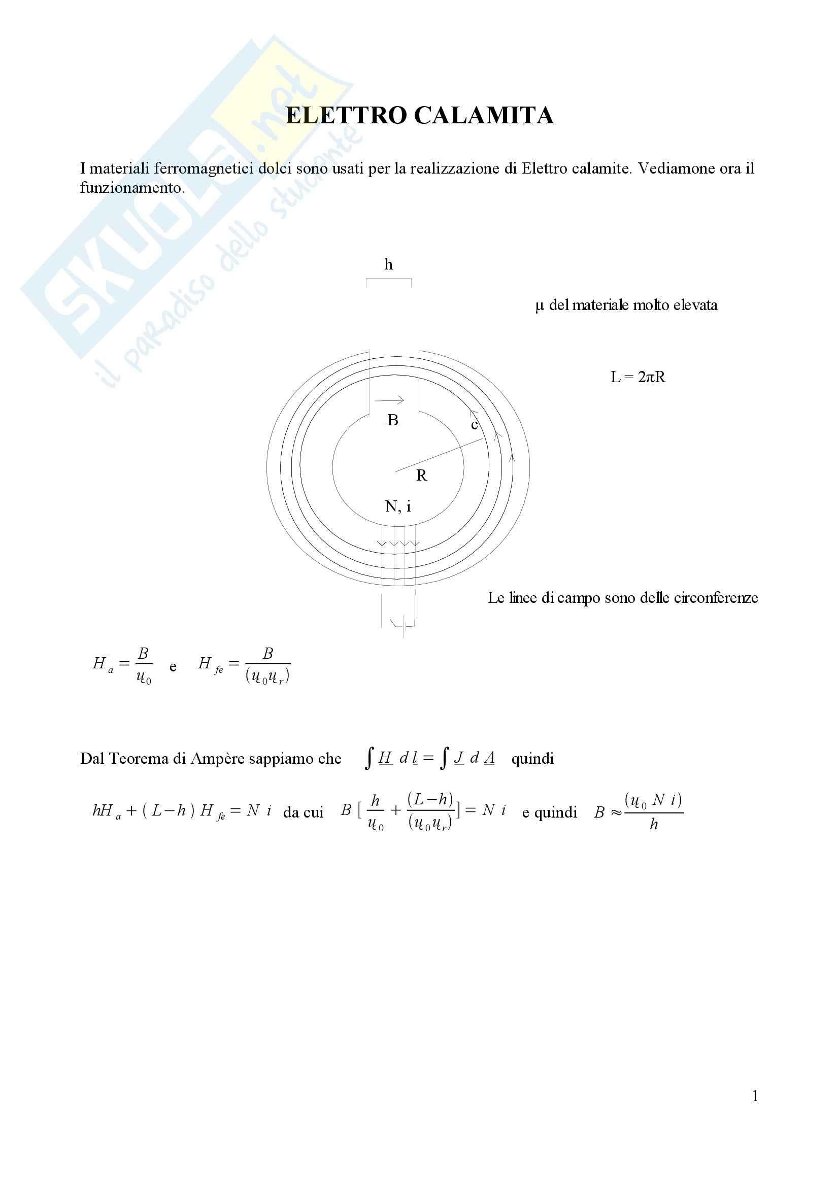 Fisica II –  Elettro Calamita
