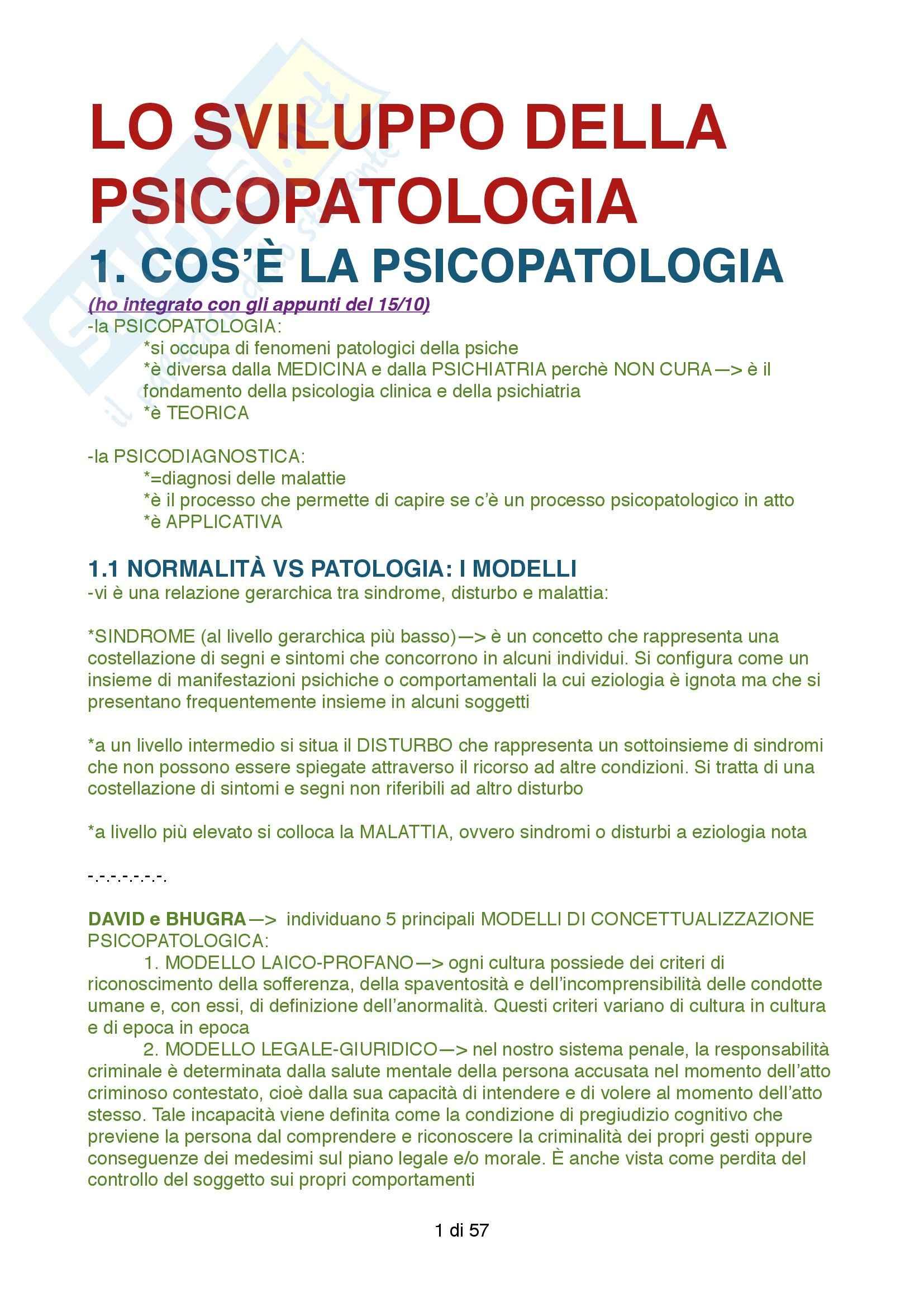 Riassunto esame Psicopatologia, prof. Zennaro, libro consigliato Lo sviluppo della Psicopatologia, Zennaro