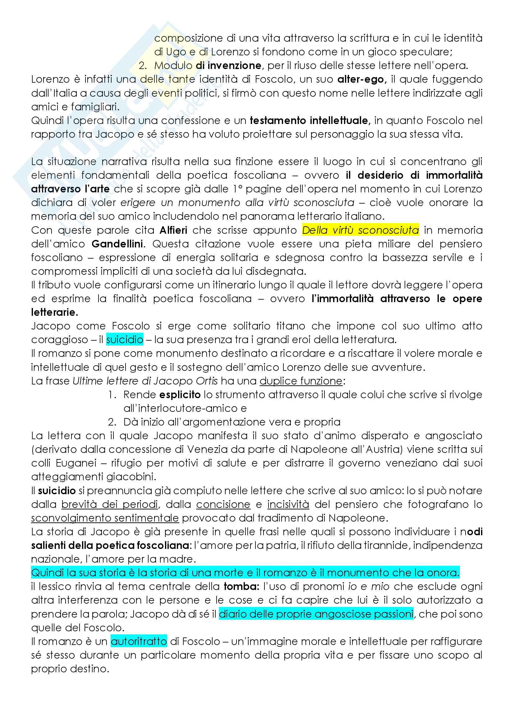 Riassunto esame letteratura italiana, prof. Guaragnella, libro consigliato L'incipit e la tradizione letteraria italiana, vol. III, Ottocento, Guaragnella Pag. 2