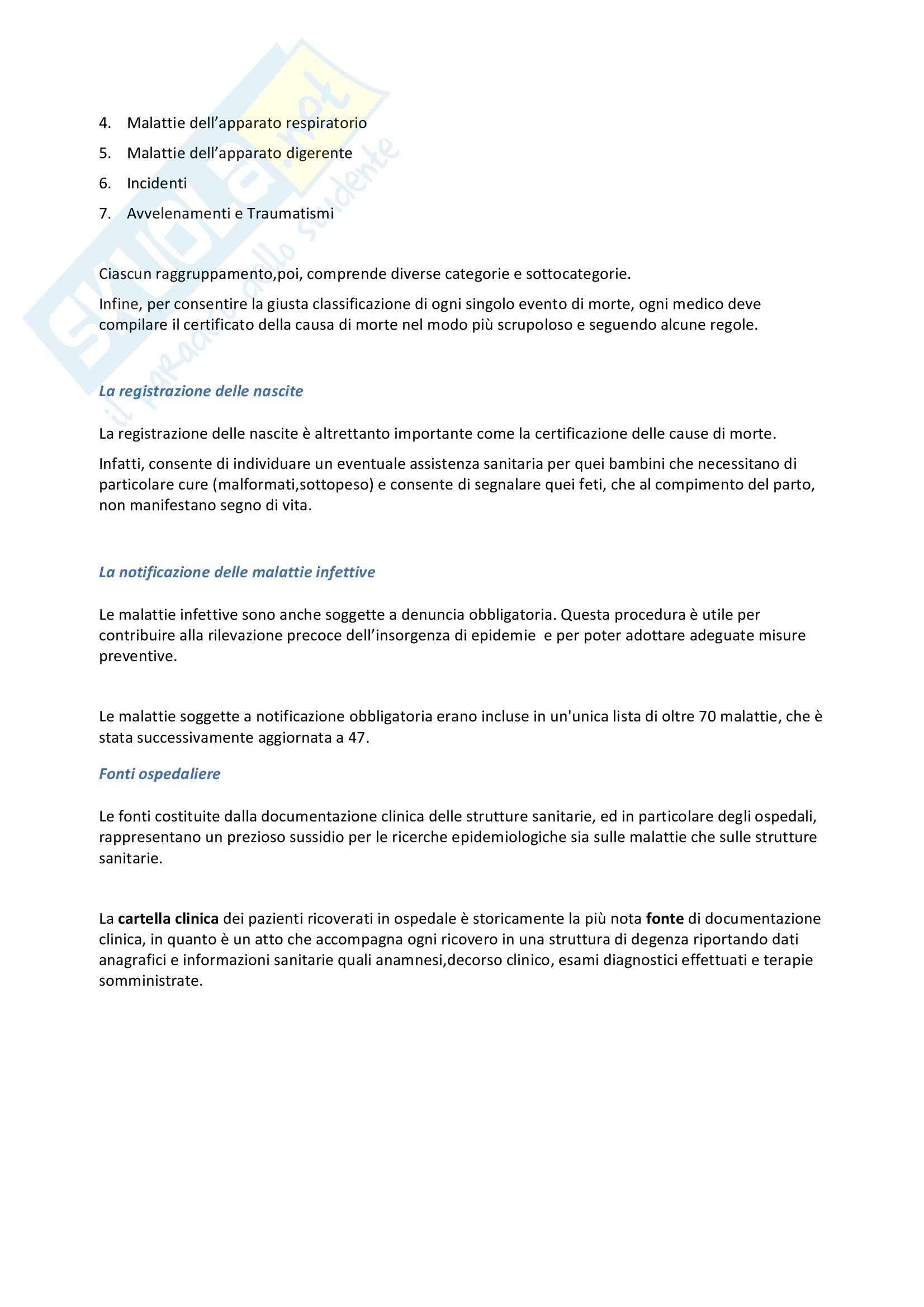 Riassunto esame Igiene, prof. Pignato, libro consigliato Igiene di Barbuti, Bellelli, Fara e Giammanco Pag. 6