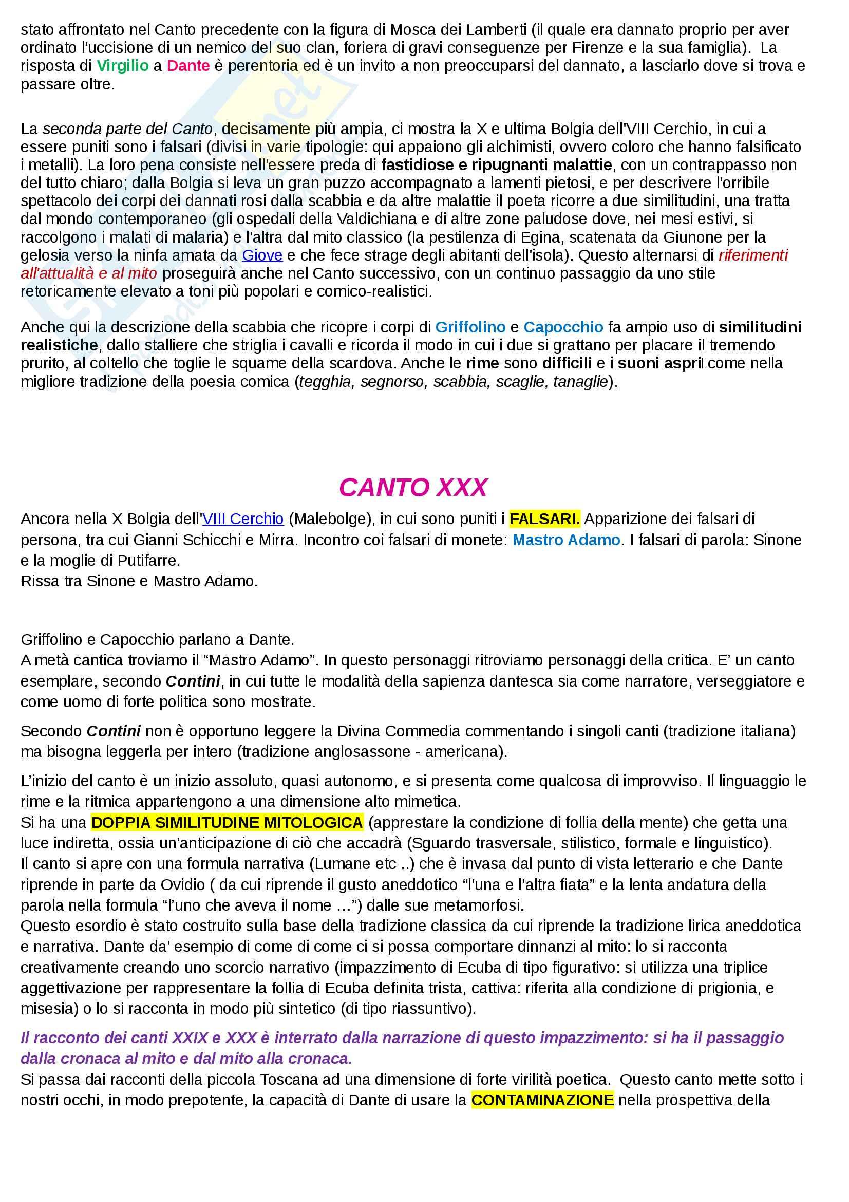 Riassunto esame Letteratura Italiana I, Prof. Mattioli. Sintesi ed analisi di tutti i 34 canti dell'inferno della Divina Commedia di Dante Alighieri e rielaborazione personale basata sui libri di riferimento suggeriti dal docente Pag. 101