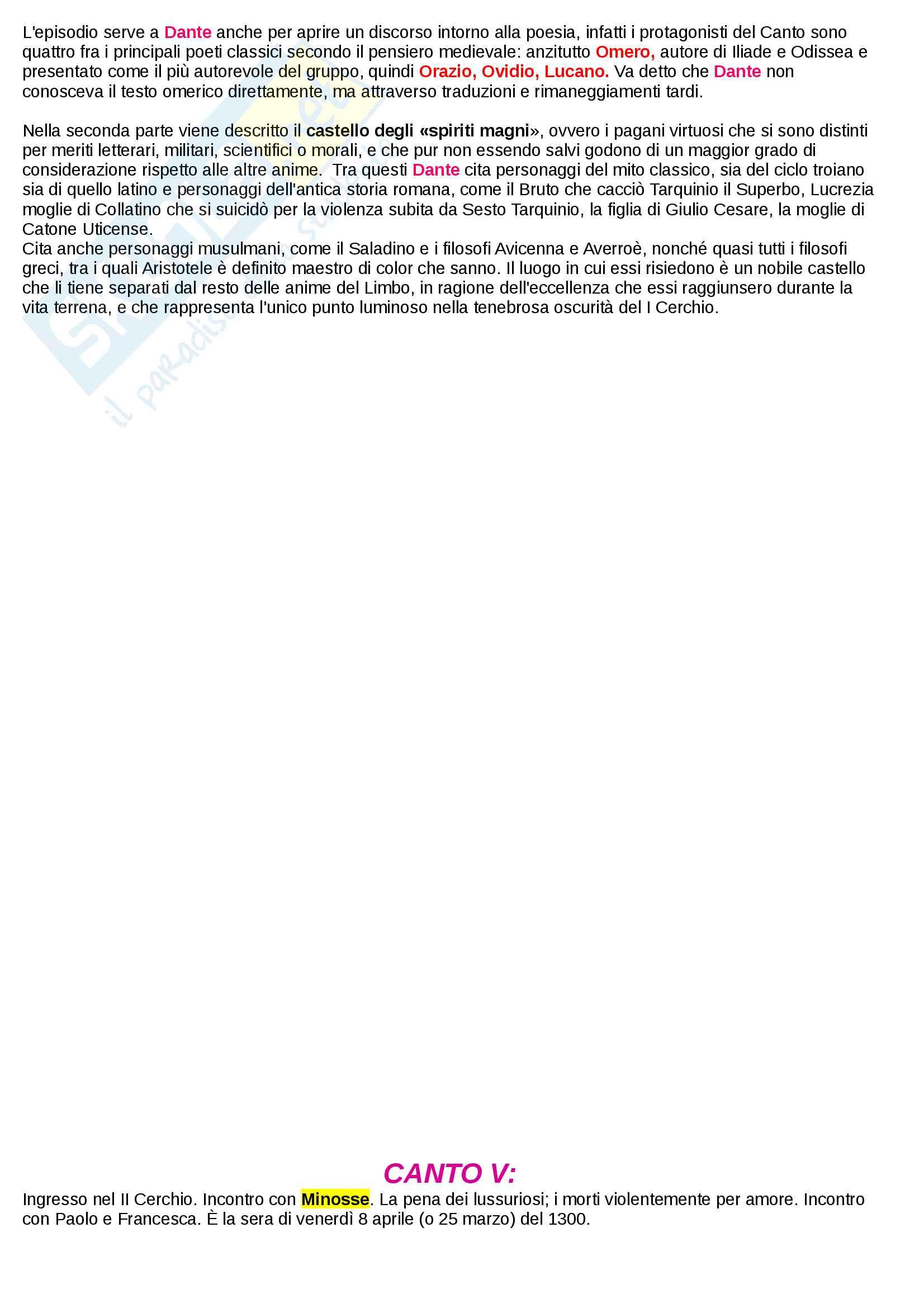 Riassunto esame Letteratura Italiana I, Prof. Mattioli. Sintesi ed analisi di tutti i 34 canti dell'inferno della Divina Commedia di Dante Alighieri e rielaborazione personale basata sui libri di riferimento suggeriti dal docente Pag. 16