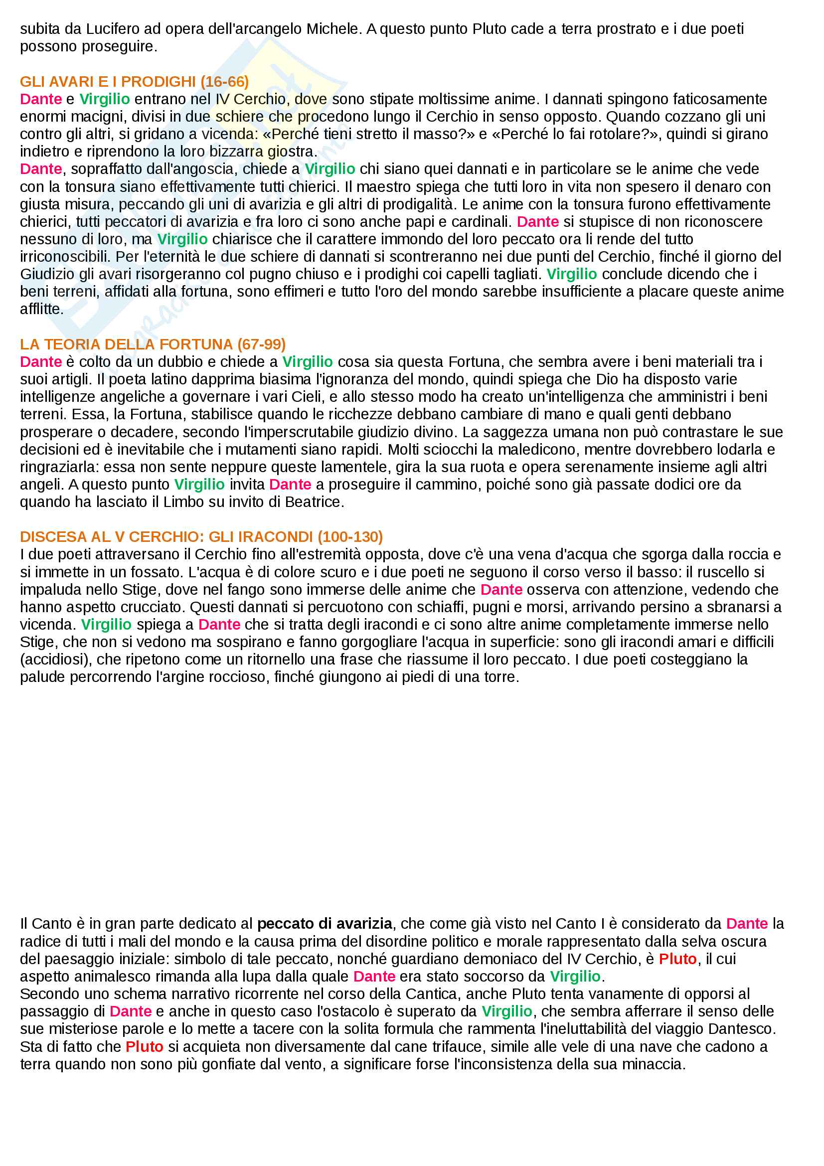 Riassunto esame Letteratura Italiana I, Prof. Mattioli. Sintesi ed analisi di tutti i 34 canti dell'inferno della Divina Commedia di Dante Alighieri e rielaborazione personale basata sui libri di riferimento suggeriti dal docente Pag. 26
