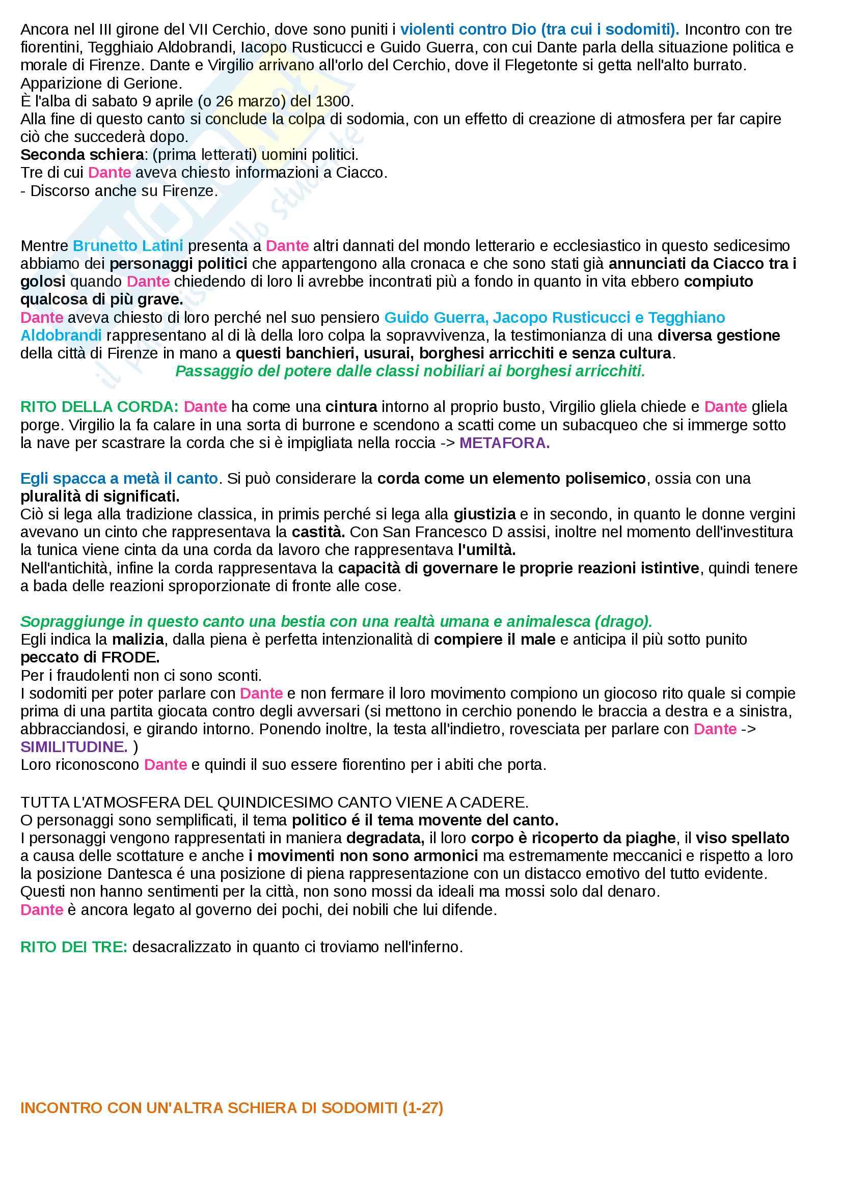 Riassunto esame Letteratura Italiana I, Prof. Mattioli. Sintesi ed analisi di tutti i 34 canti dell'inferno della Divina Commedia di Dante Alighieri e rielaborazione personale basata sui libri di riferimento suggeriti dal docente Pag. 56