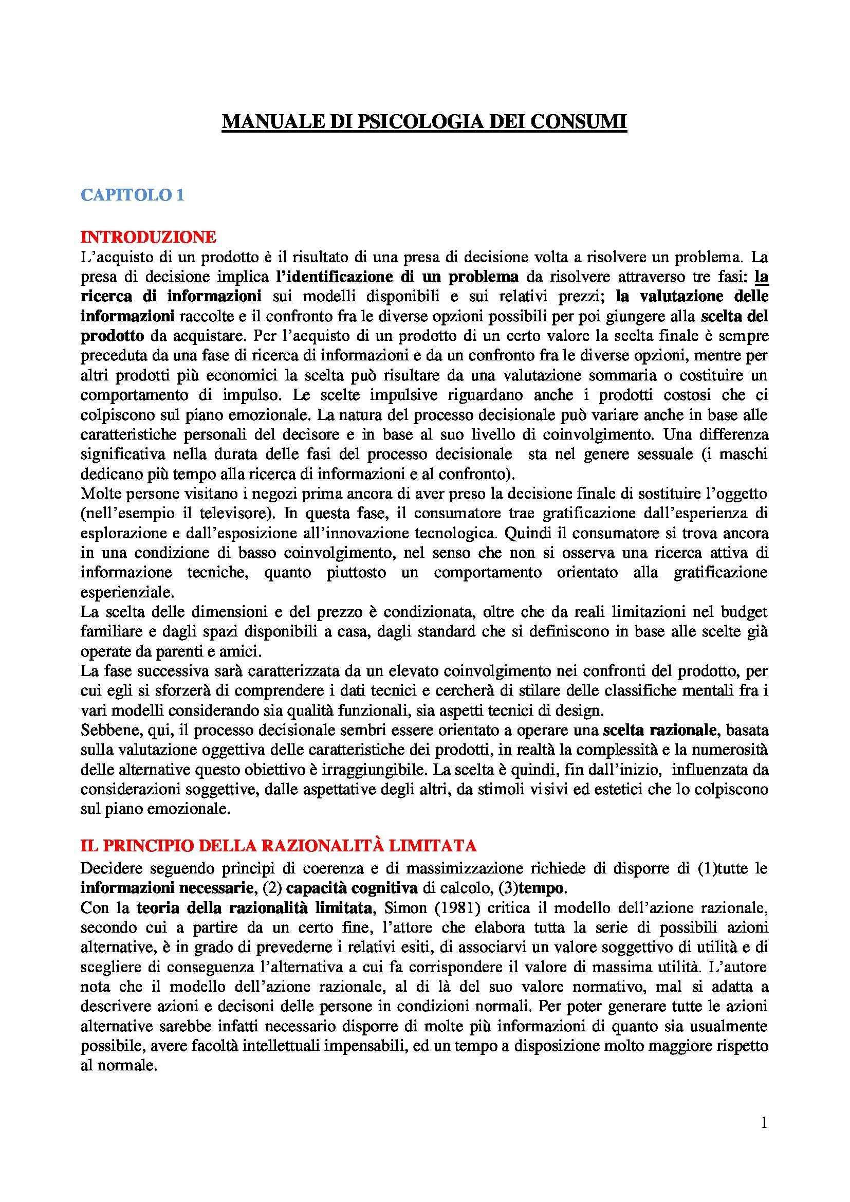 Riassunto esame Psicologia dei Consumi, prof. Russo, libro consigliato Manuale di Psicologia dei Consumi, Russo, Olivero