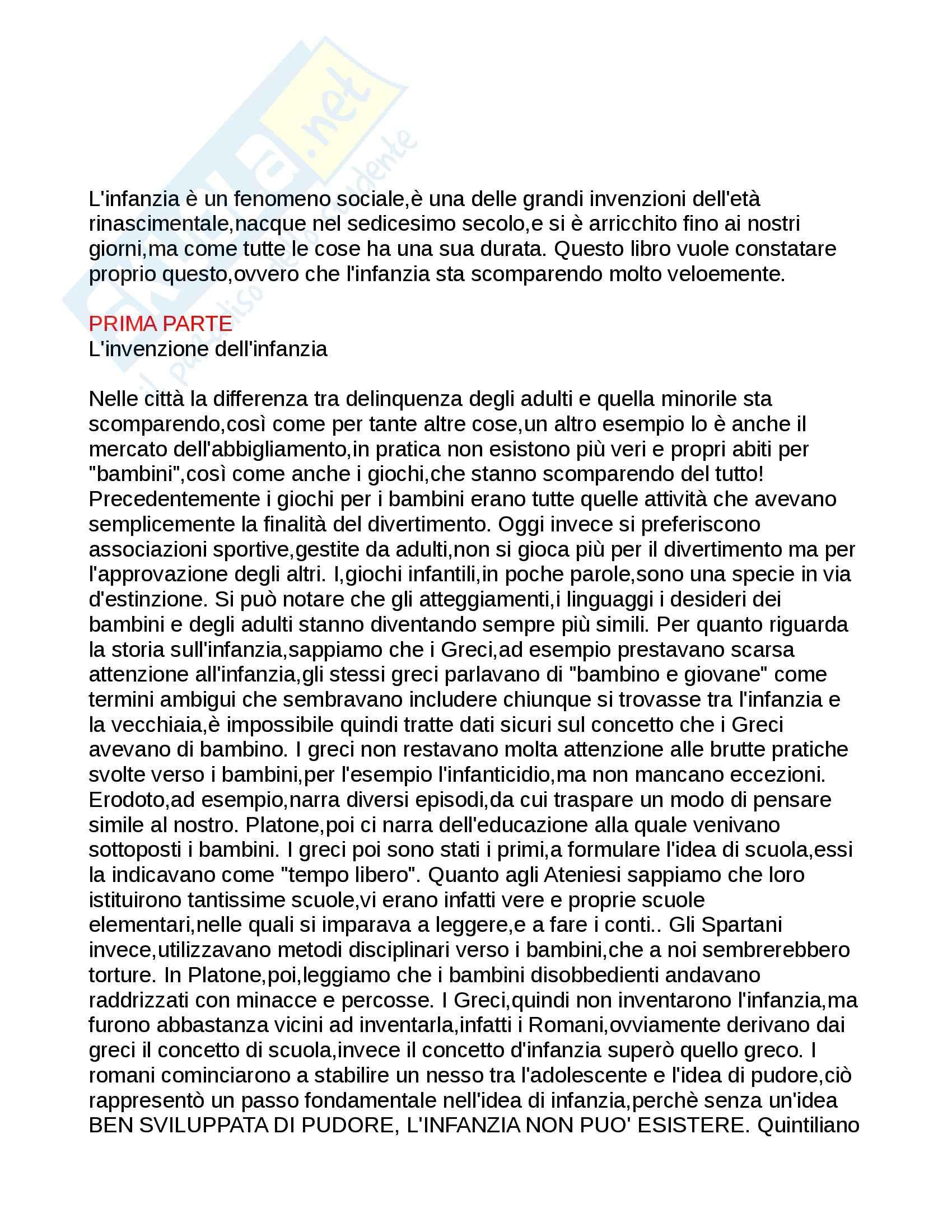 Riassunto esame Pedagogia generale dell'infanzia, prof. De Sanctis, libro consigliato La scomparsa dell'infanzia di Postman