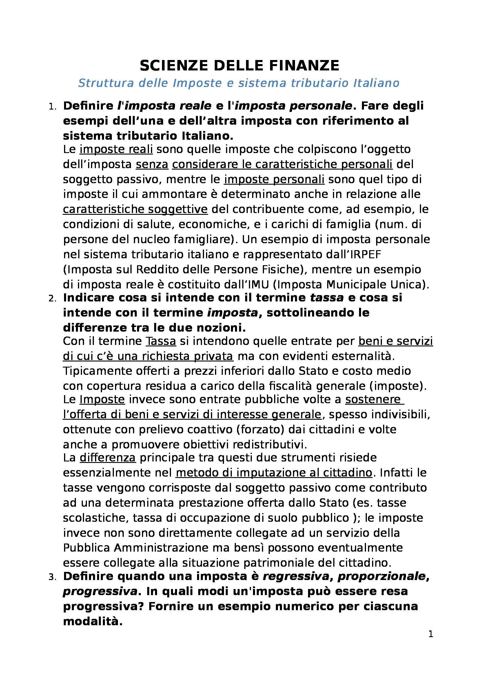 Scienze delle finanze - Struttura delle imposte e Sistema tributario Italiano